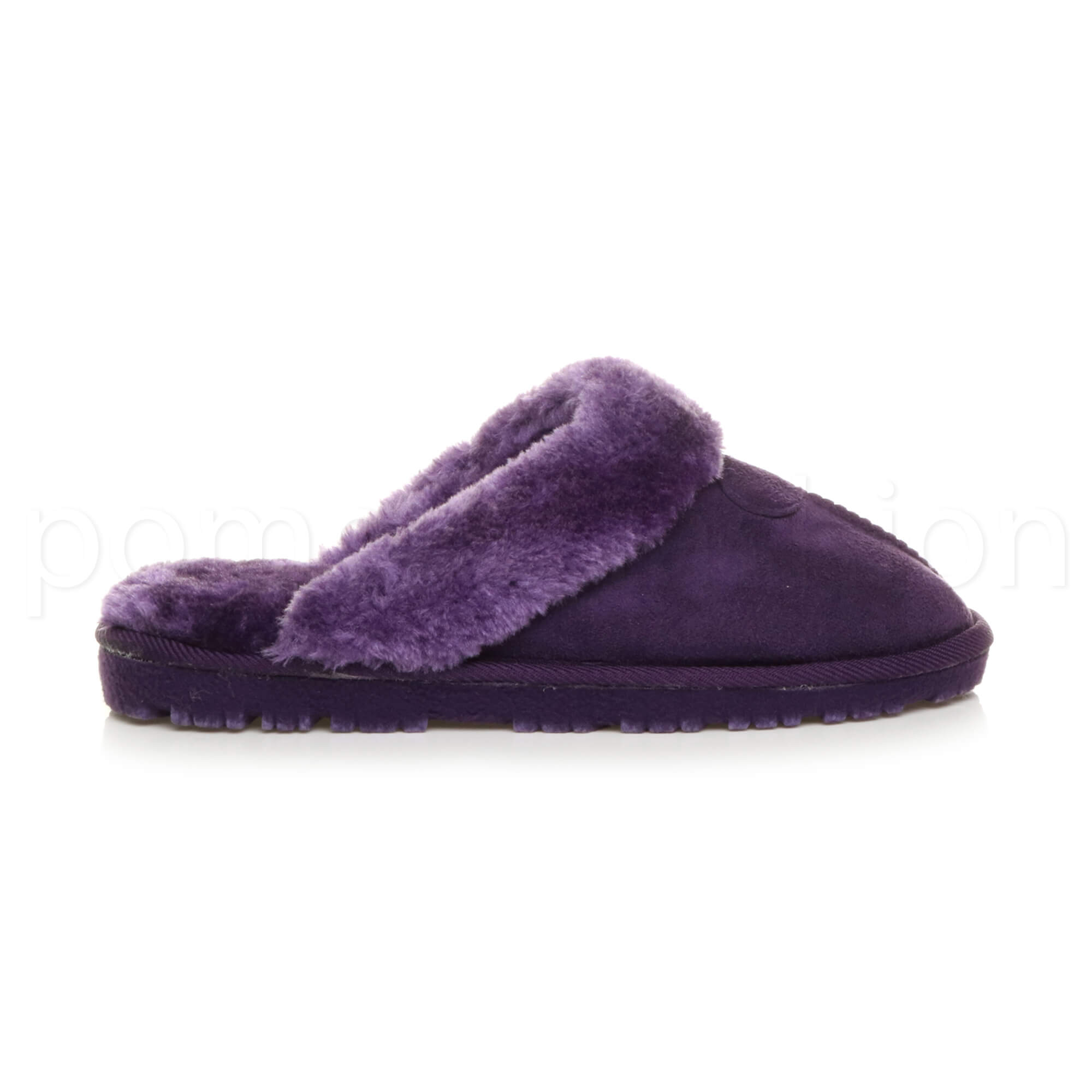 WOMENS-LADIES-FLAT-FUR-LINED-COMFORTABLE-WINTER-MULES-SLIPPERS-HOUSE-SHOES-SIZE thumbnail 87