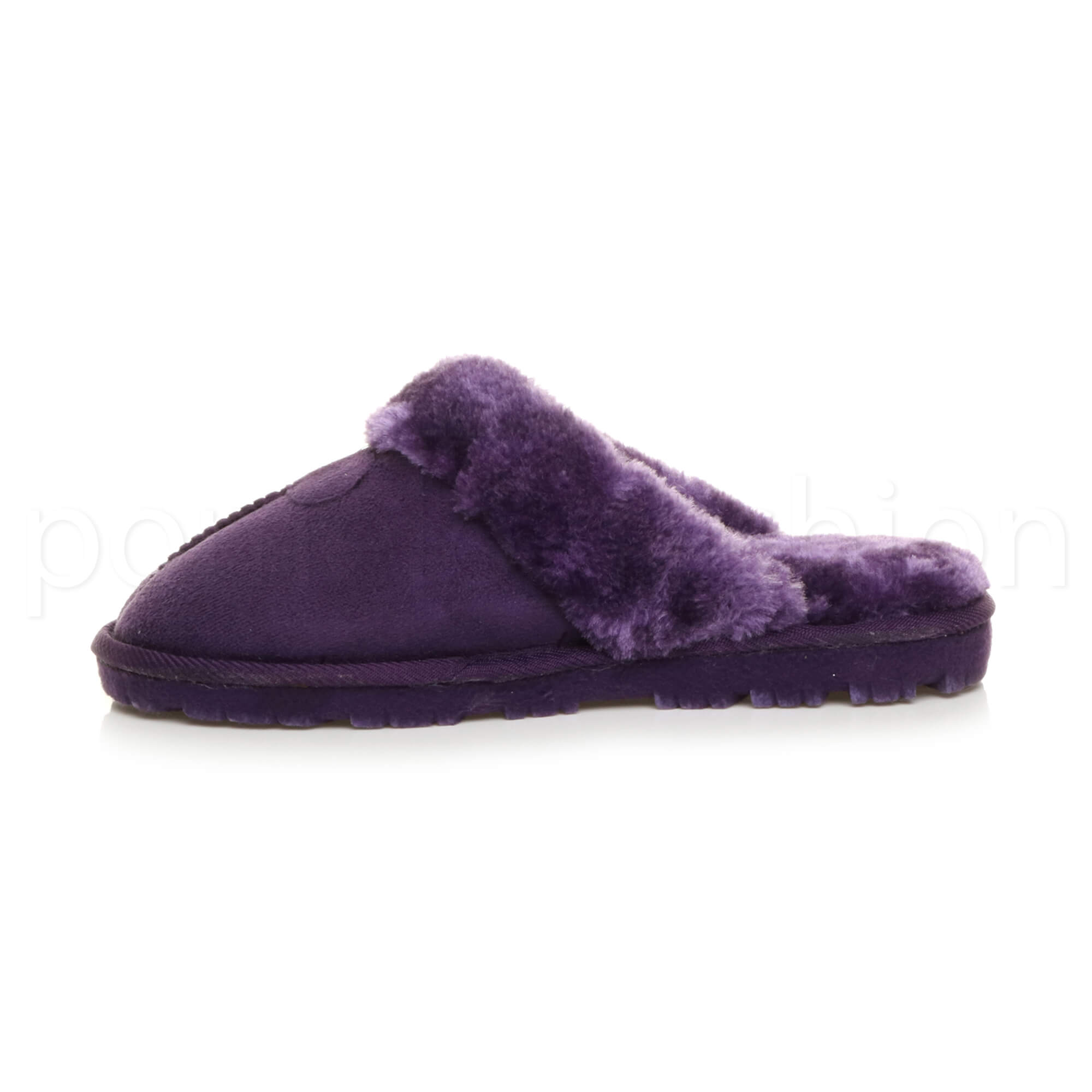 WOMENS-LADIES-FLAT-FUR-LINED-COMFORTABLE-WINTER-MULES-SLIPPERS-HOUSE-SHOES-SIZE thumbnail 88