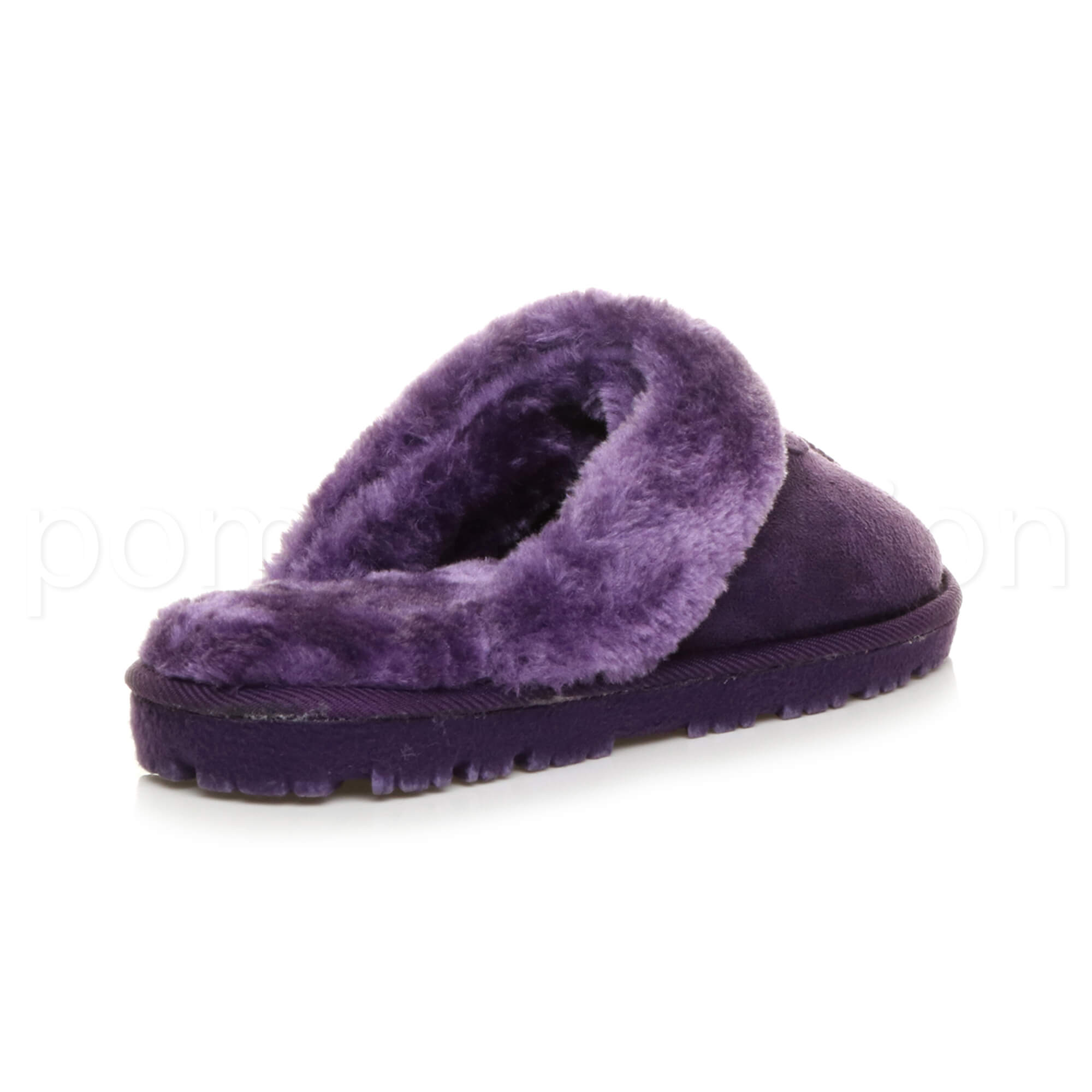 WOMENS-LADIES-FLAT-FUR-LINED-COMFORTABLE-WINTER-MULES-SLIPPERS-HOUSE-SHOES-SIZE thumbnail 89