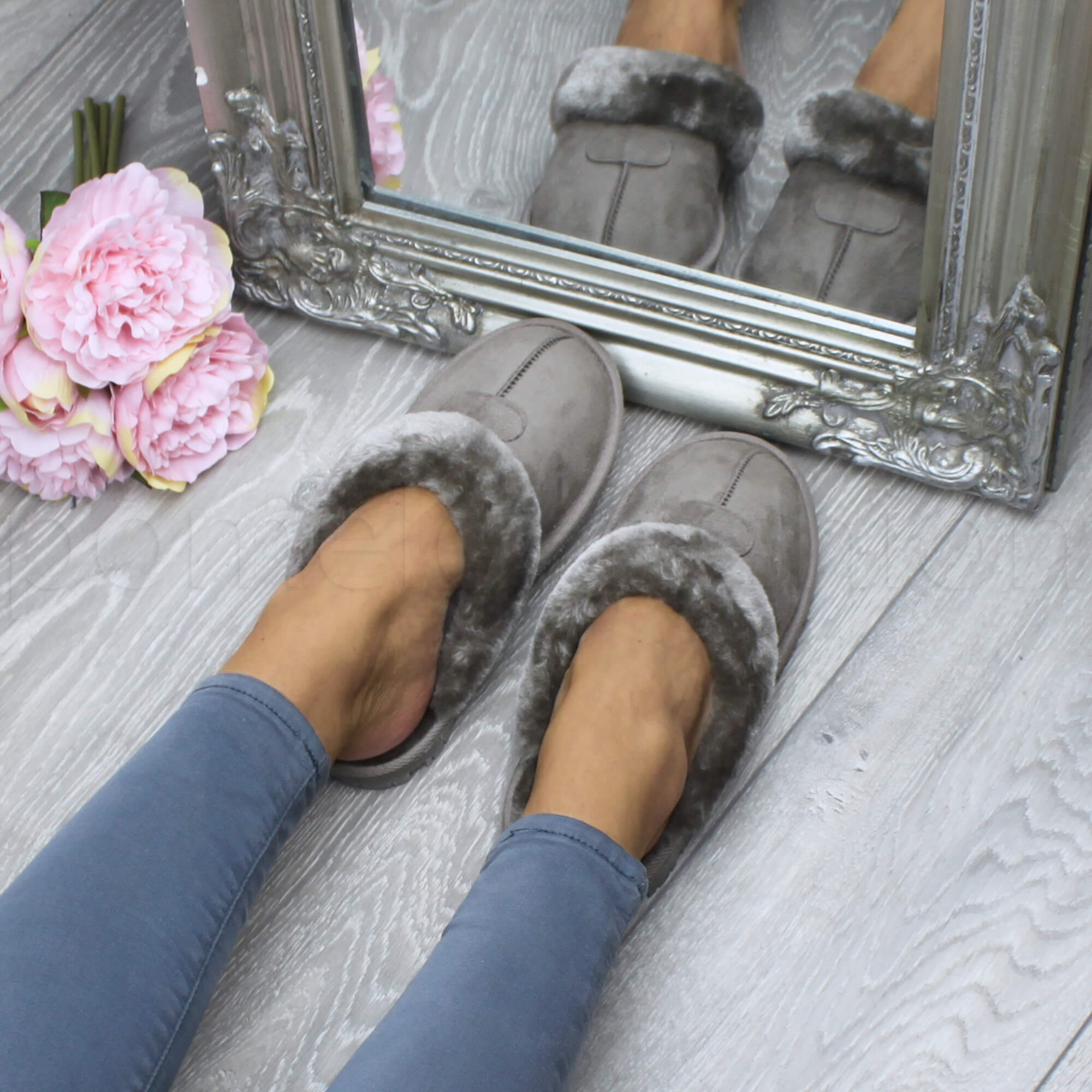 NEW WOMENS LADIES FUR LINED MOCASSIN GRIP SOLE WINTER WARM SLIPPERS SHOES SIZE