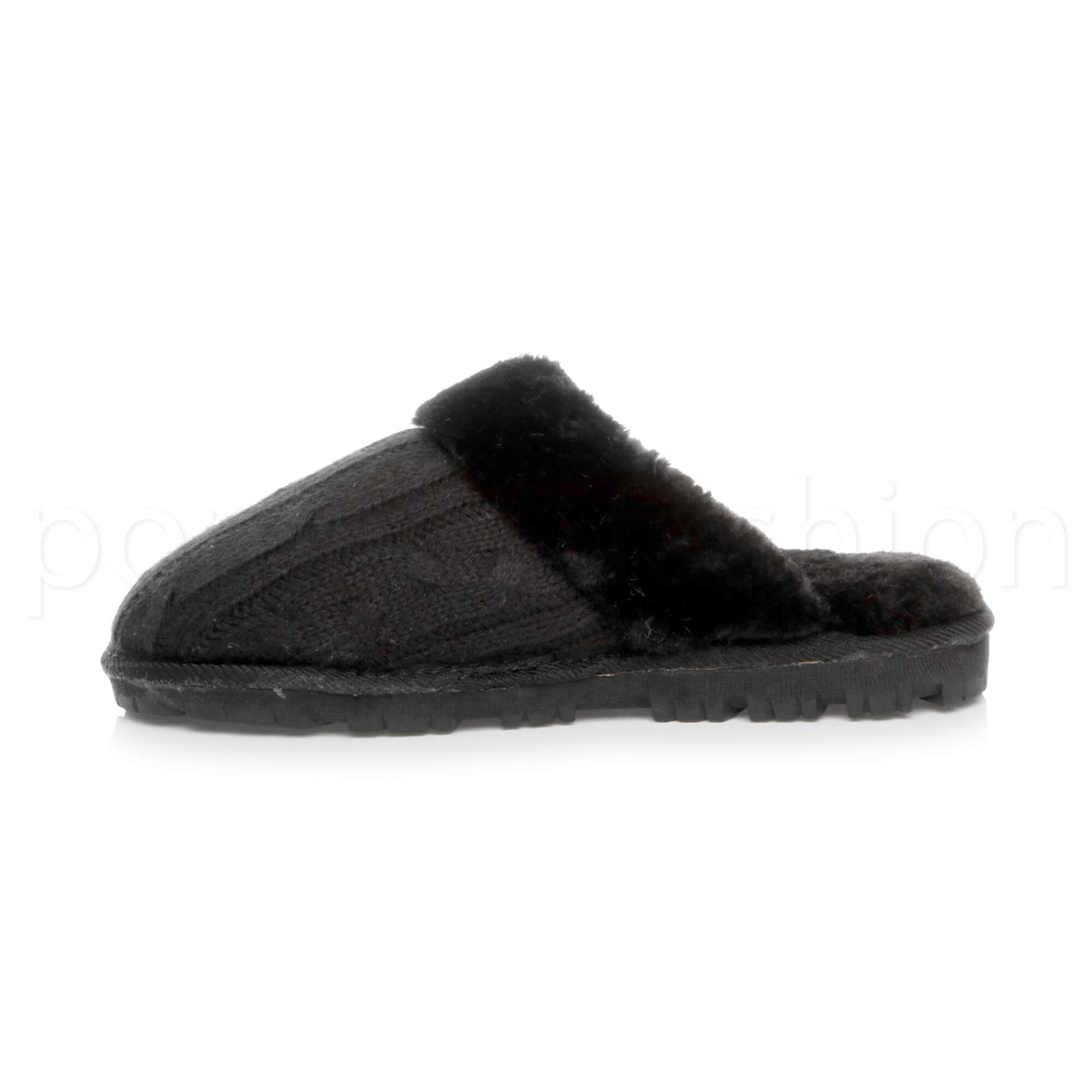 WOMENS-LADIES-FLAT-FUR-LINED-COMFORTABLE-WINTER-MULES-SLIPPERS-HOUSE-SHOES-SIZE thumbnail 32