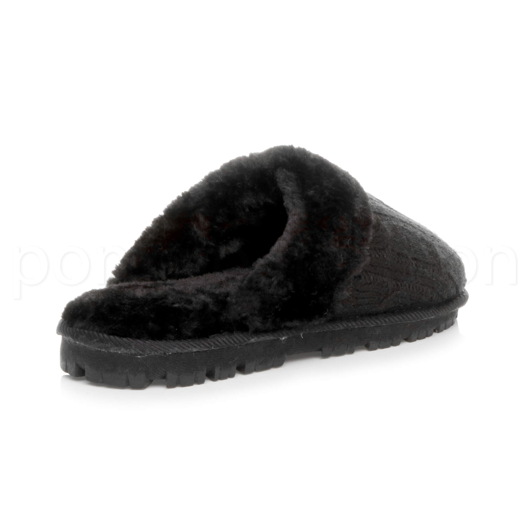 WOMENS-LADIES-FLAT-FUR-LINED-COMFORTABLE-WINTER-MULES-SLIPPERS-HOUSE-SHOES-SIZE thumbnail 33