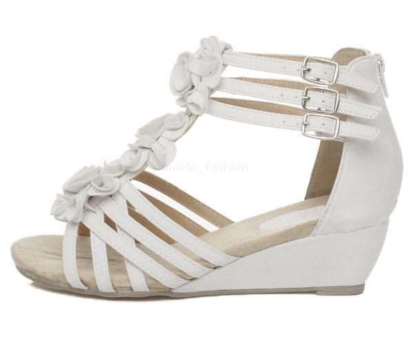 Womens Ladies Low Heel Flat Wedge Strappy Summer Zip