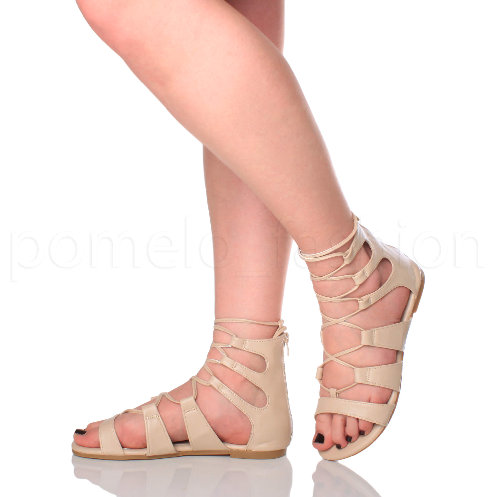 628e0bb1f33 ... Ladies Lace up Cross Over Wrap Around Strappy Gladiators Sandals Size  UK 3   EU 36   US 5 Nude Matte. About this product. Picture 1 of 2  Picture  2 of 2