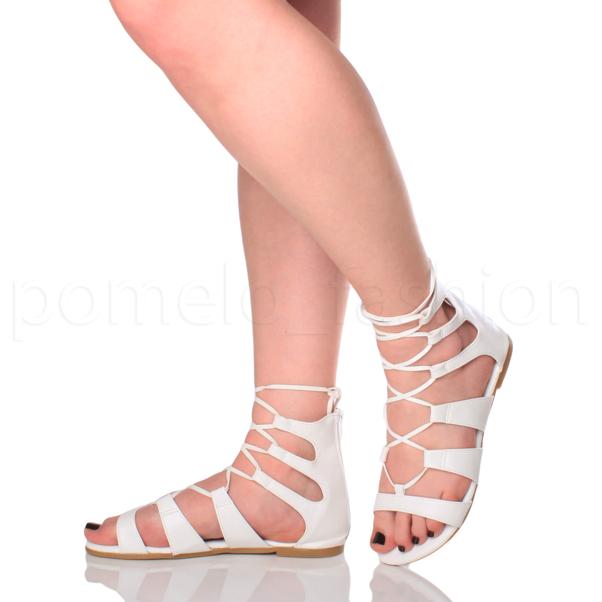 9d15007c92a Womens Ladies Lace up Cross Over Wrap Around Strappy Gladiators ...