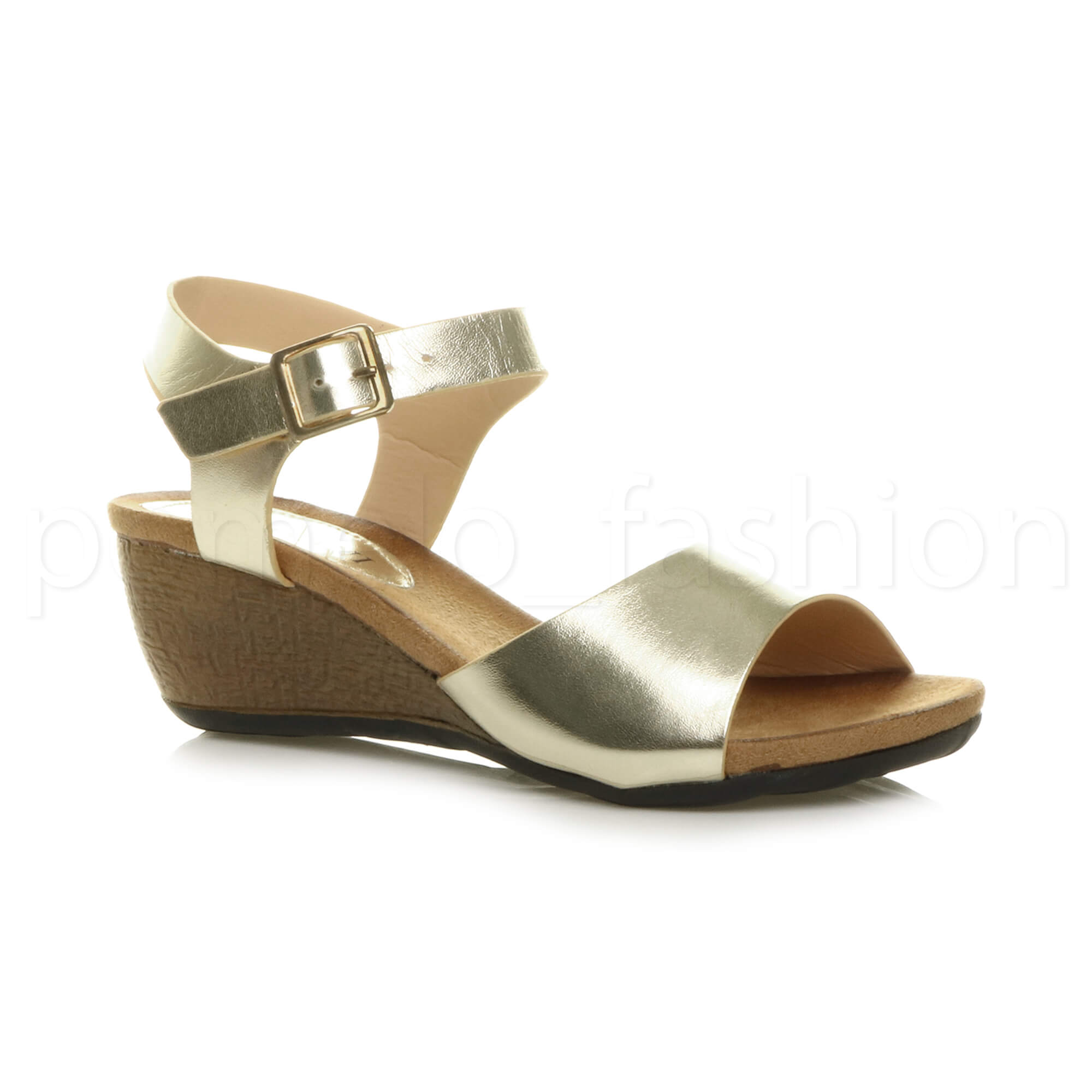 5bb5214bbbf8 Womens Ladies Platform Mid Heel Wedge Work Smart PEEP Toe Shoes Sandals  Size UK 4   EU 37   US 6 Gold. About this product. Picture 1 of 6  Picture  2 of 6 ...