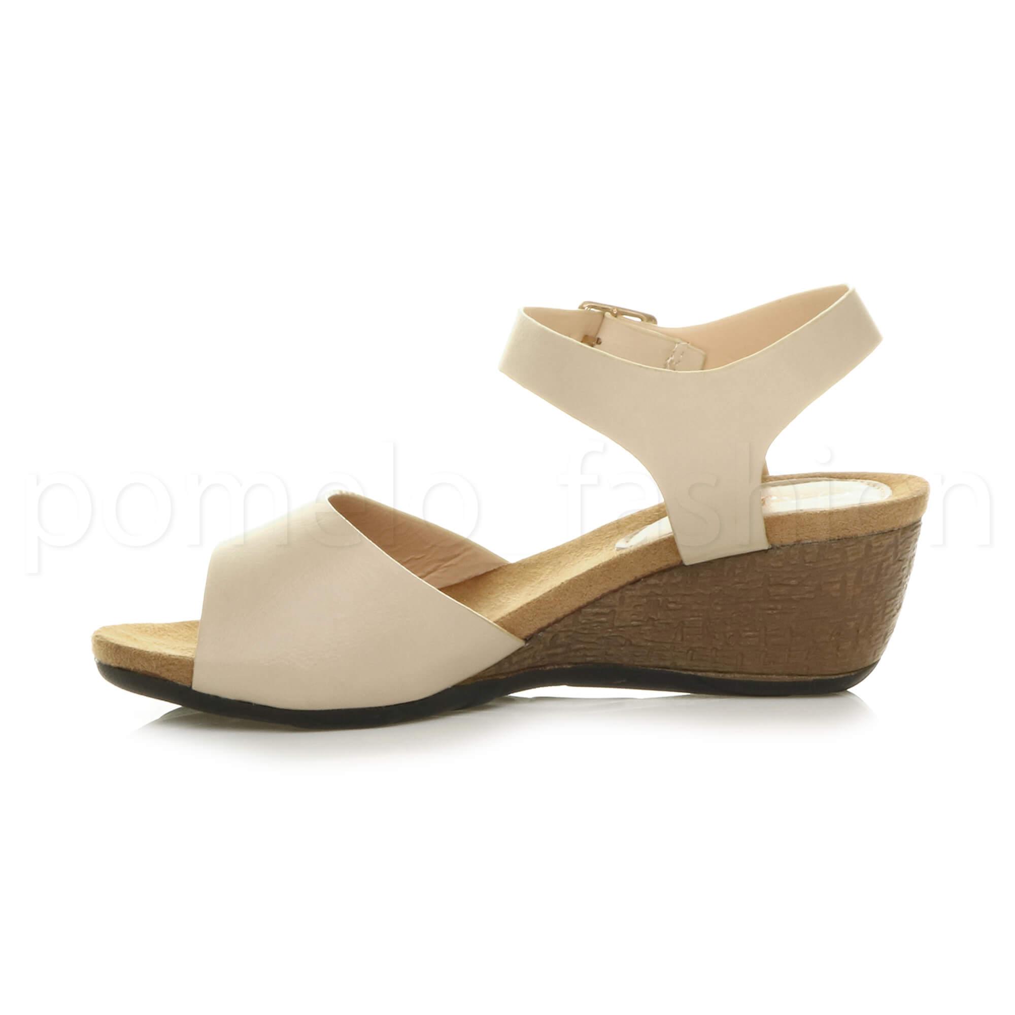 Womens Ladies Low Mid Wedge Heel Ankle Strap Work Summer
