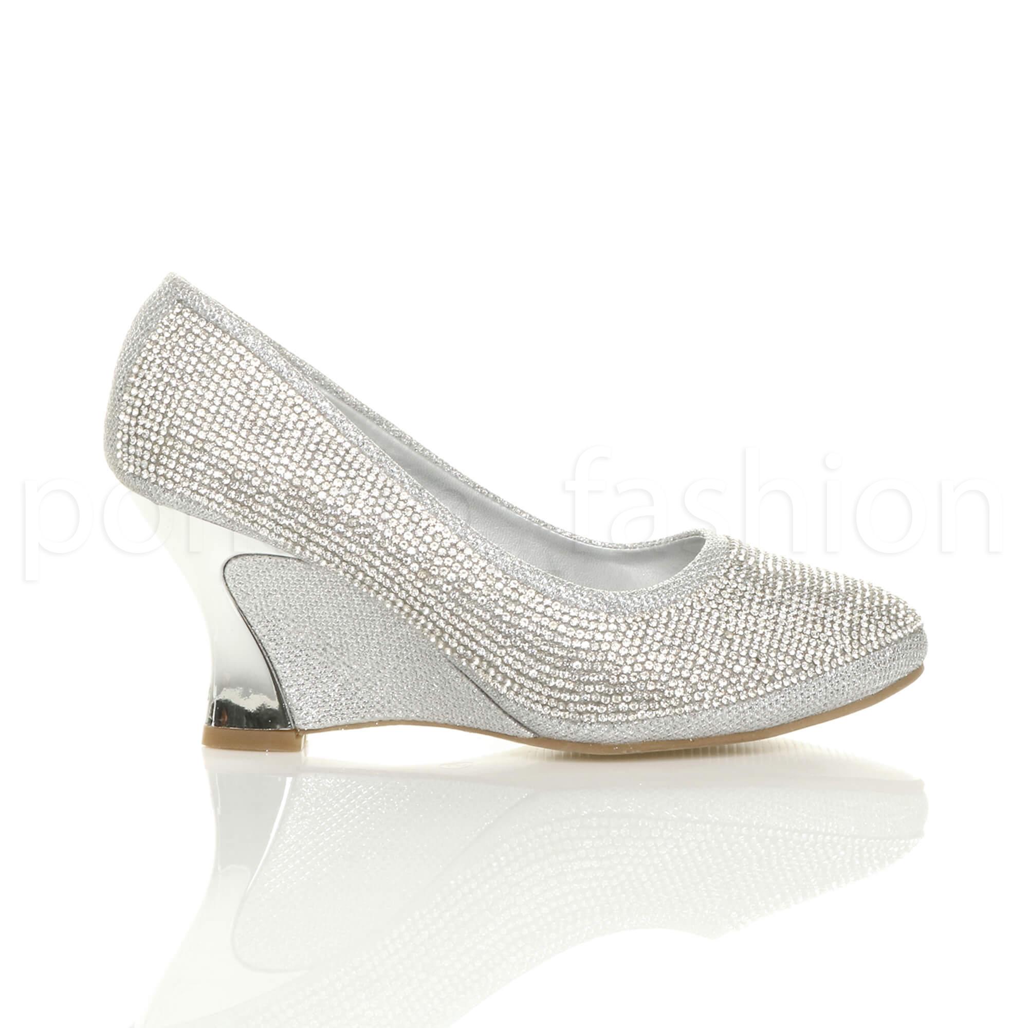 bdc80ad11e Womens Low Heel Wedge Diamante Evening Wedding Prom Bridal Court ...
