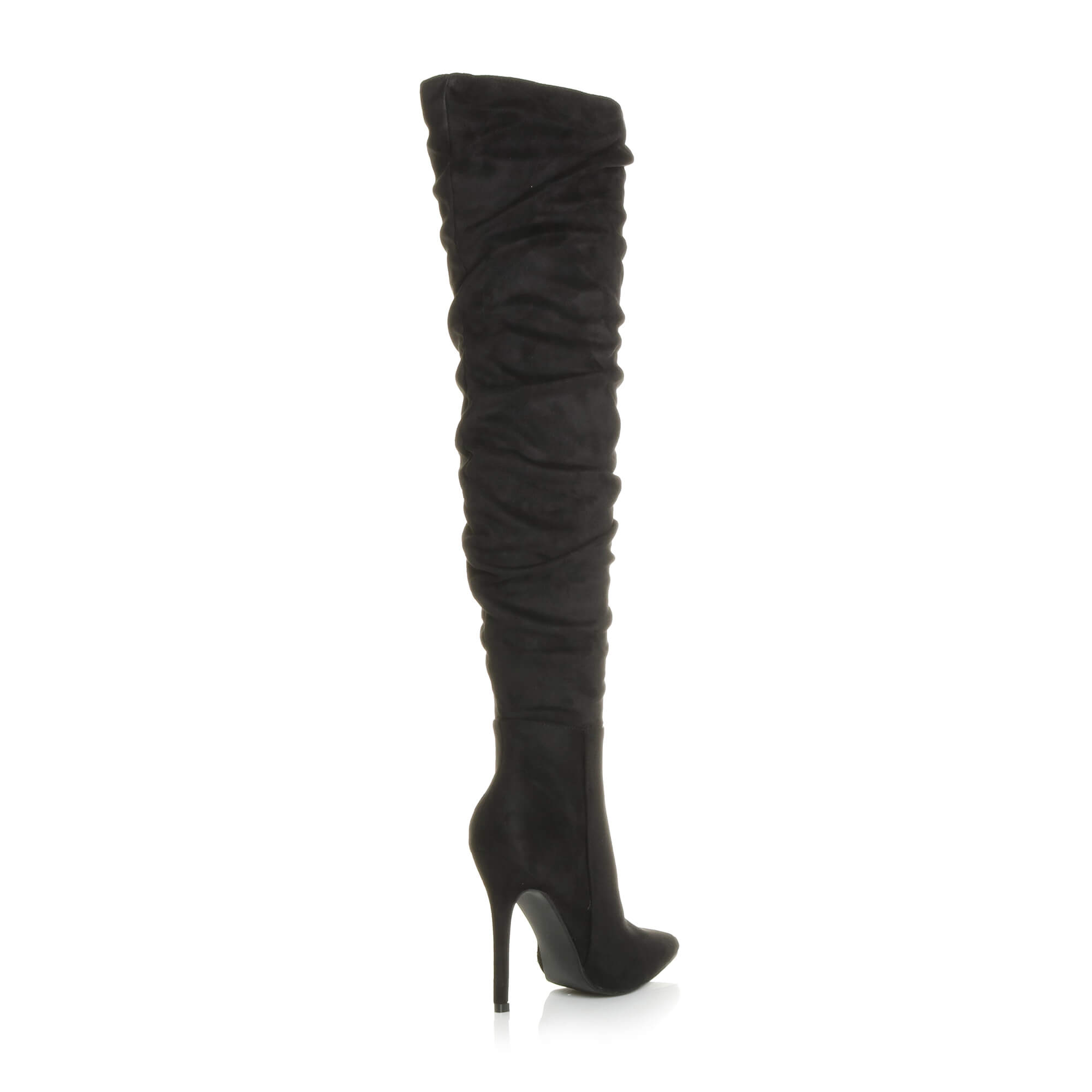 WOMENS-LADIES-SLOUCH-RUCHED-OVER-THE-KNEE-POINTED-THIGH-HIGH-HEELED-BOOTS-SIZE thumbnail 5