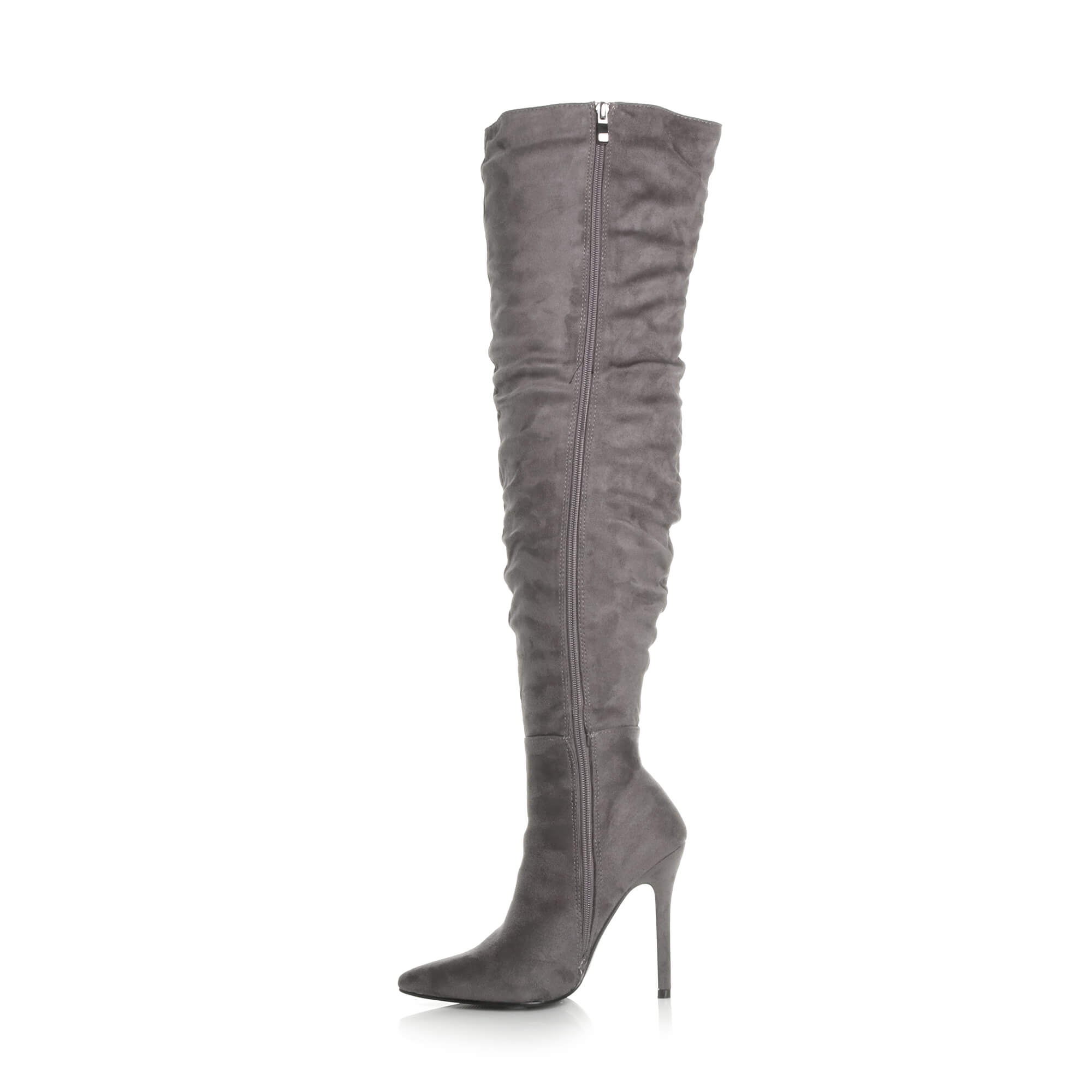 WOMENS-LADIES-SLOUCH-RUCHED-OVER-THE-KNEE-POINTED-THIGH-HIGH-HEELED-BOOTS-SIZE thumbnail 10