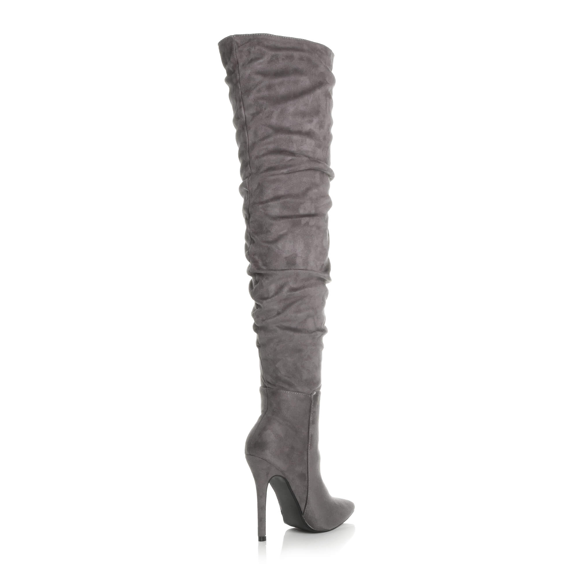WOMENS-LADIES-SLOUCH-RUCHED-OVER-THE-KNEE-POINTED-THIGH-HIGH-HEELED-BOOTS-SIZE thumbnail 11