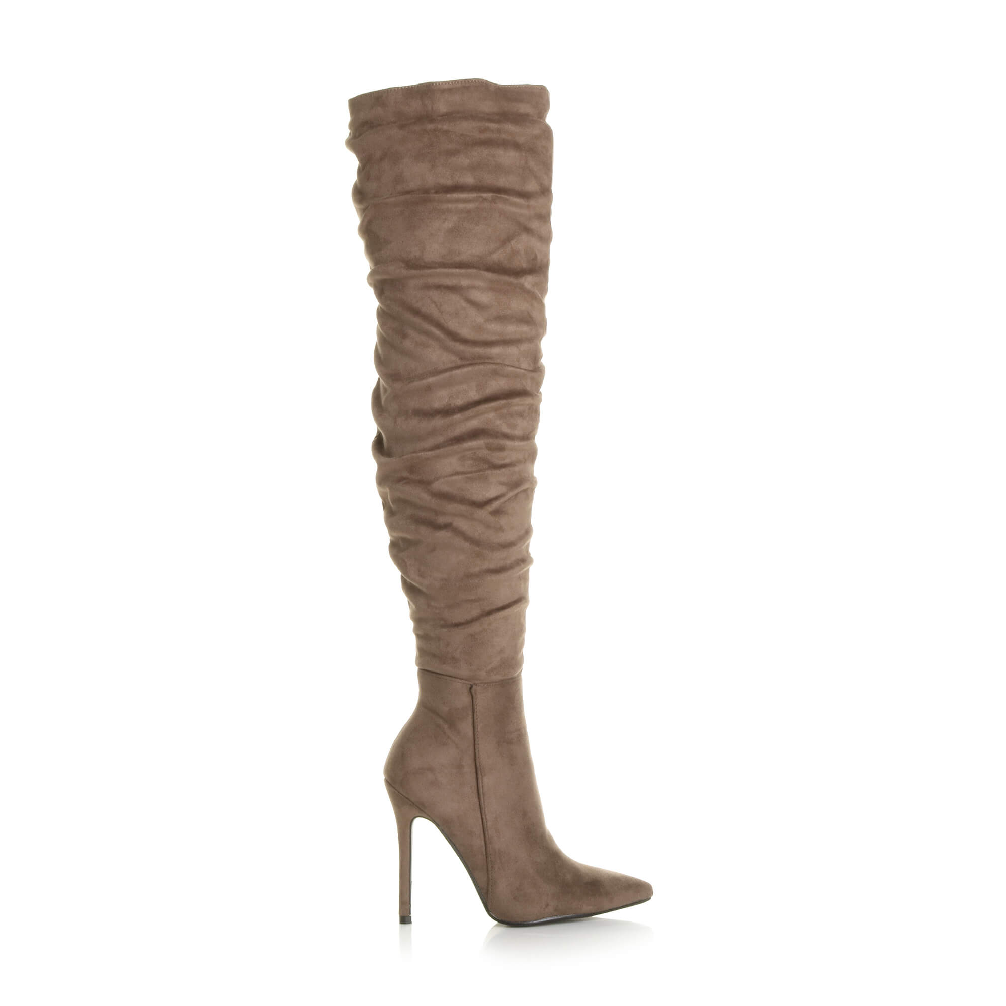 WOMENS-LADIES-SLOUCH-RUCHED-OVER-THE-KNEE-POINTED-THIGH-HIGH-HEELED-BOOTS-SIZE thumbnail 15