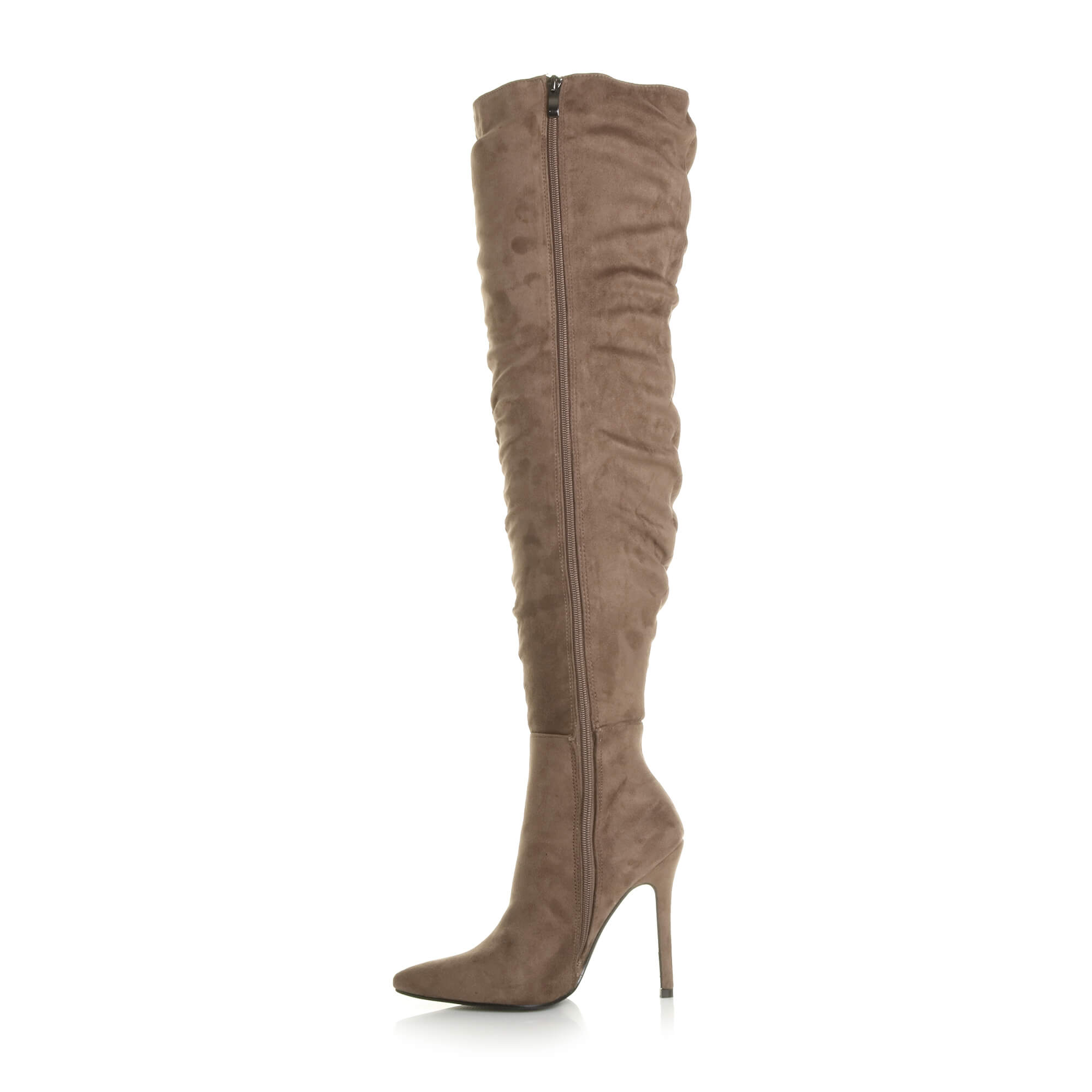 WOMENS-LADIES-SLOUCH-RUCHED-OVER-THE-KNEE-POINTED-THIGH-HIGH-HEELED-BOOTS-SIZE thumbnail 16