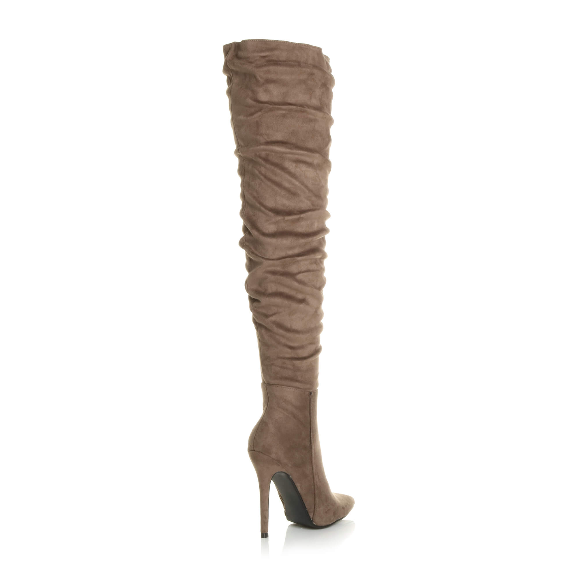 WOMENS-LADIES-SLOUCH-RUCHED-OVER-THE-KNEE-POINTED-THIGH-HIGH-HEELED-BOOTS-SIZE thumbnail 17