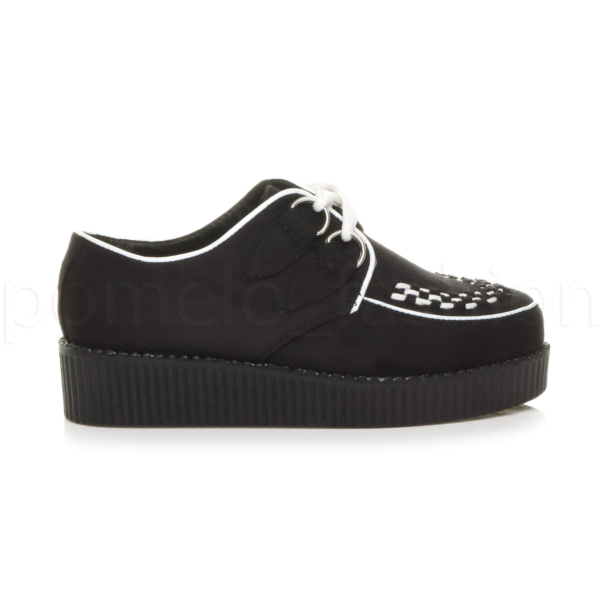 WOMENS-LADIES-FLATFORM-PLATFORM-LACE-UP-GOTH-PUNK-BROTHEL-CREEPERS-SHOES-SIZE