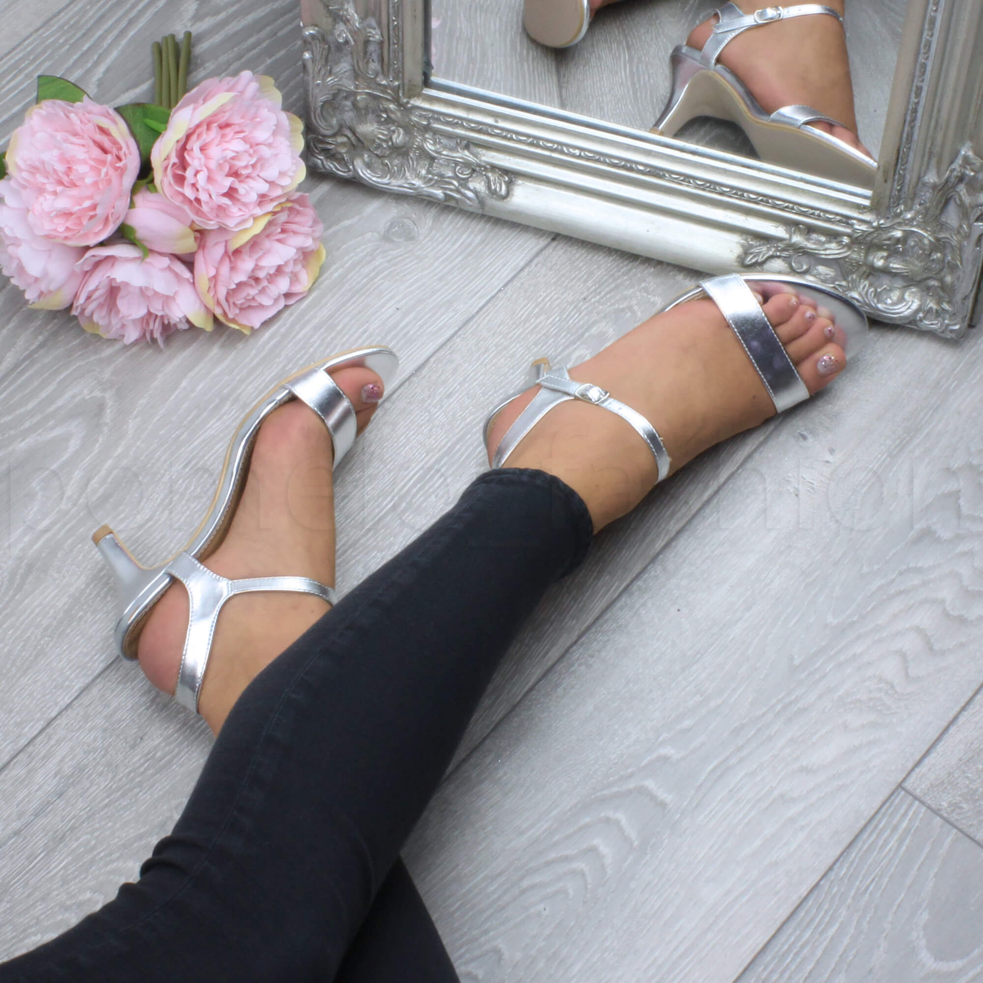 7565f689b17 ... Ladies High Heel Buckle Strappy Basic Barely There Sandals Shoes Size  UK 6   EU 39   US 8 Silver Metallic. About this product. Picture 1 of 2   Picture 2 ...