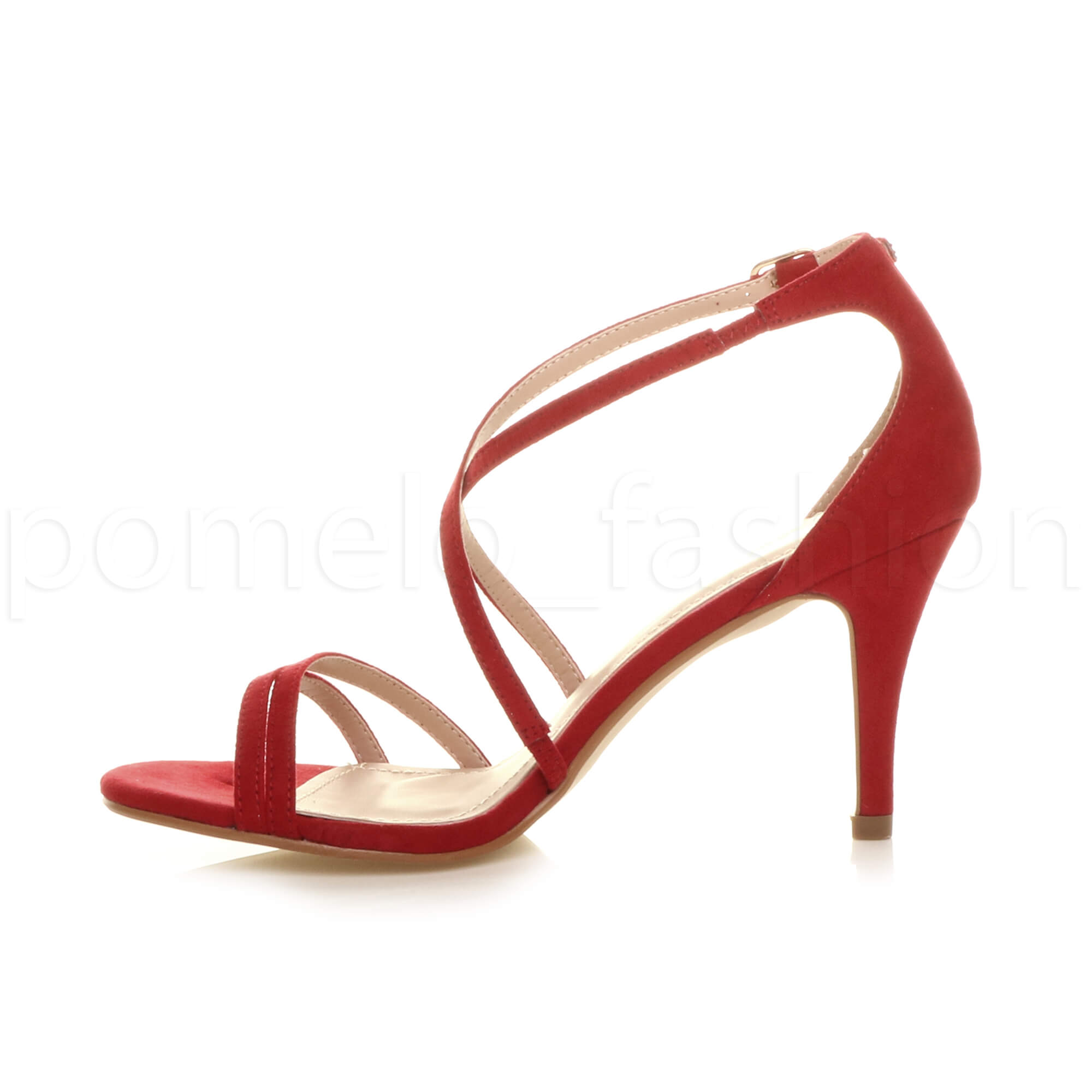 696a9b53edf Womens Ladies Mid High Heel Strappy Crossover Wedding Prom Sandals Shoes  Size UK 4 / EU 37 / US 6 Red Suede