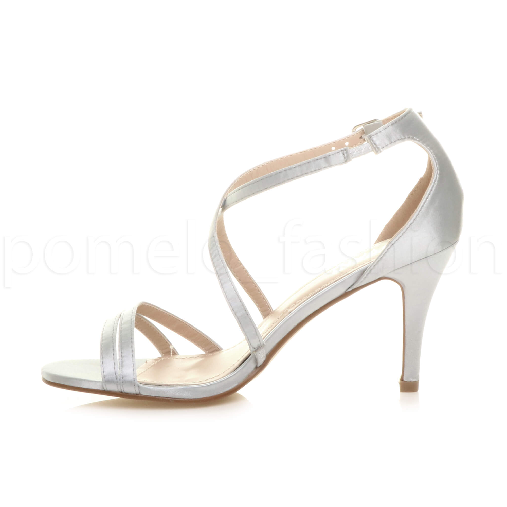 835103b08f1 Womens Ladies Mid High Heel Strappy Crossover Wedding Prom Sandals ...