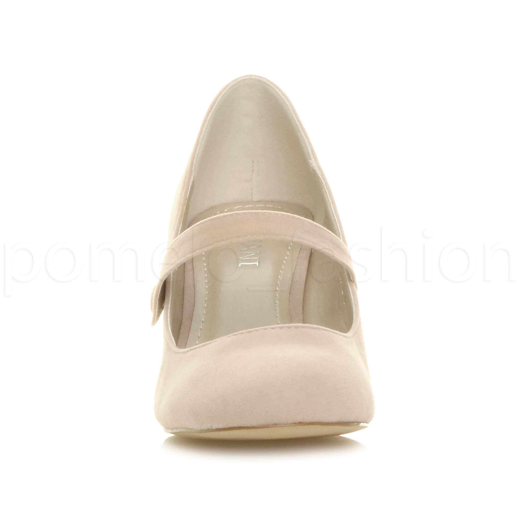 miniatura 125 - Donna basso tacco medio Mary Jane Damigella Matrimonio Pompe Scarpe Da Sera Taglia