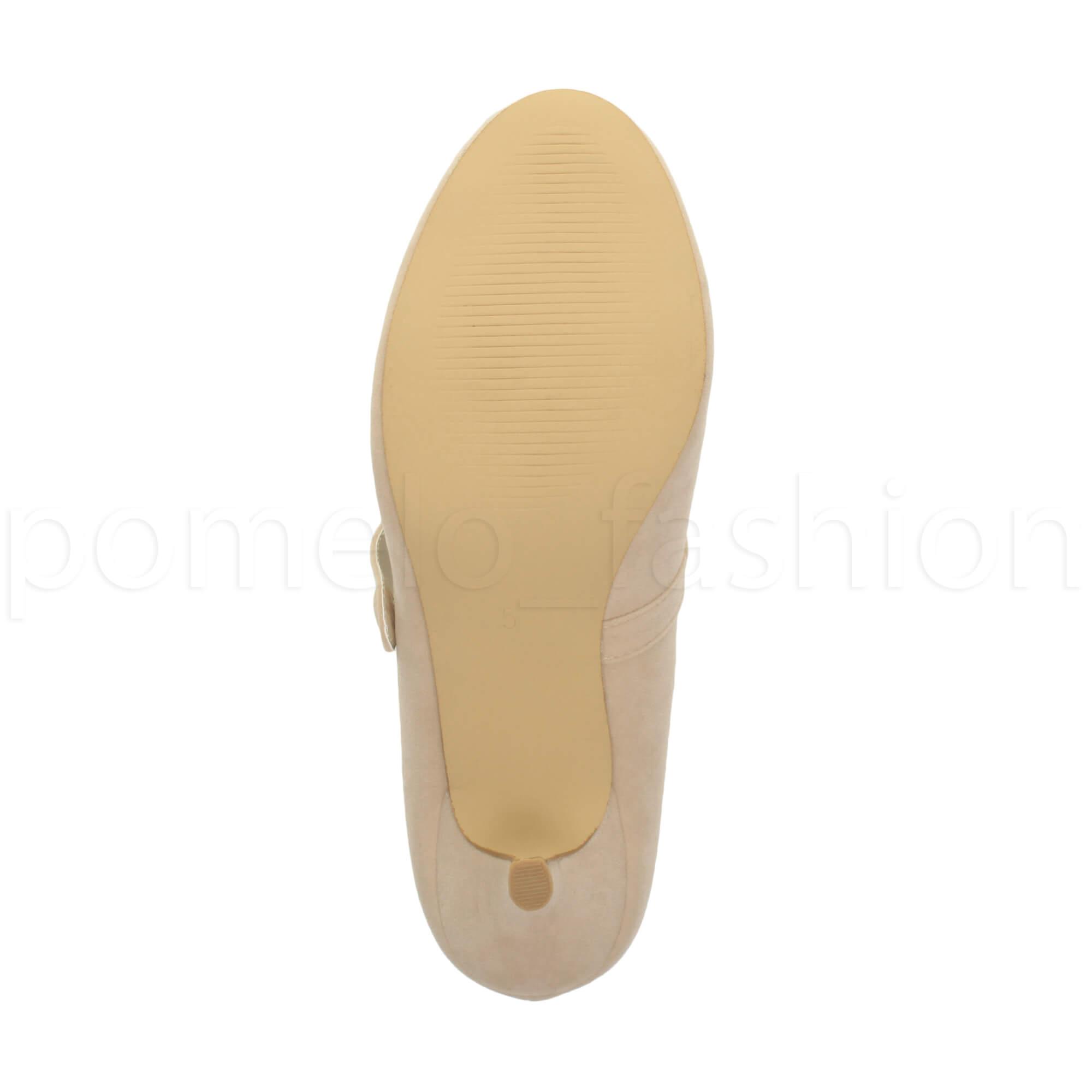 miniatura 127 - Donna basso tacco medio Mary Jane Damigella Matrimonio Pompe Scarpe Da Sera Taglia