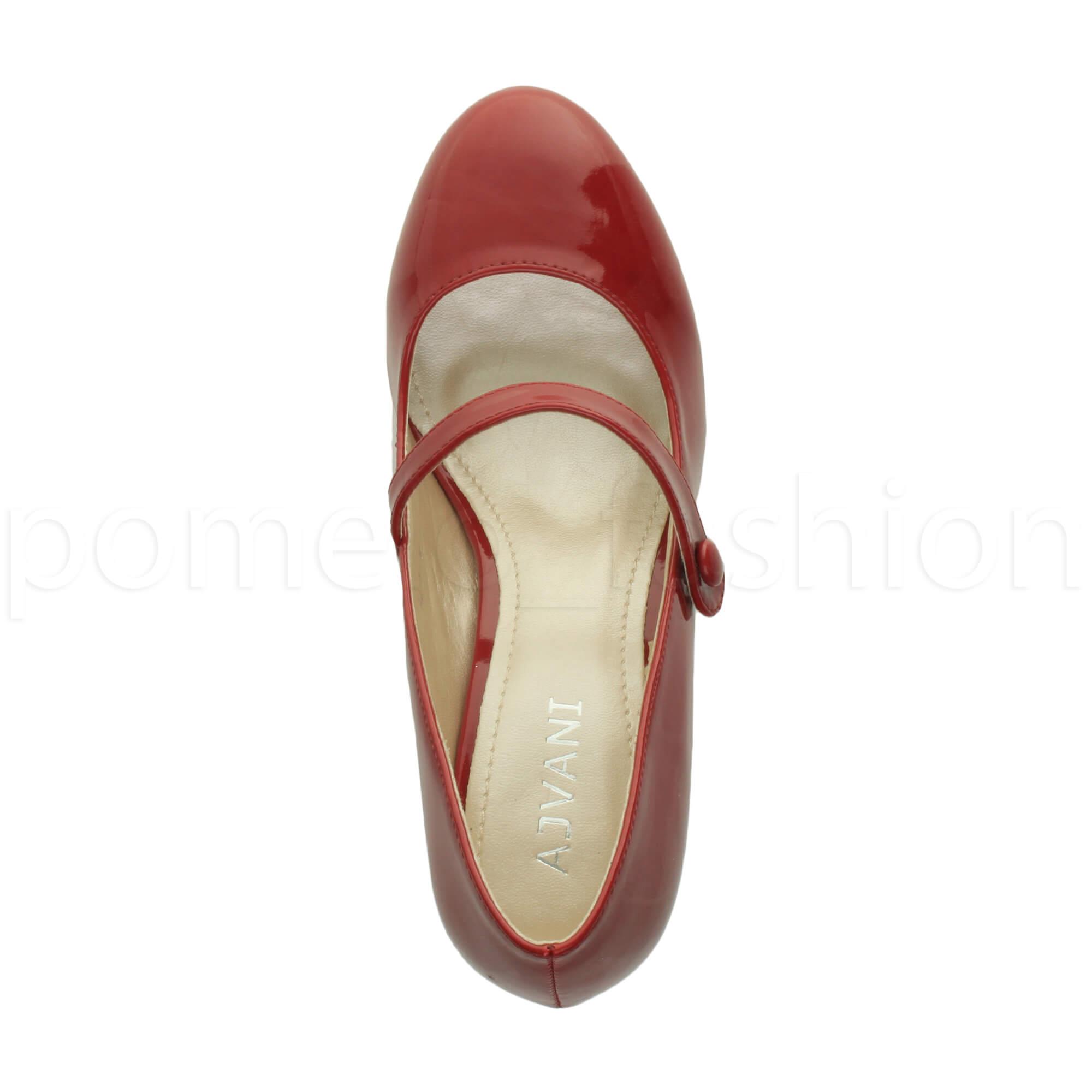 miniatura 49 - Donna basso tacco medio Mary Jane Damigella Matrimonio Pompe Scarpe Da Sera Taglia