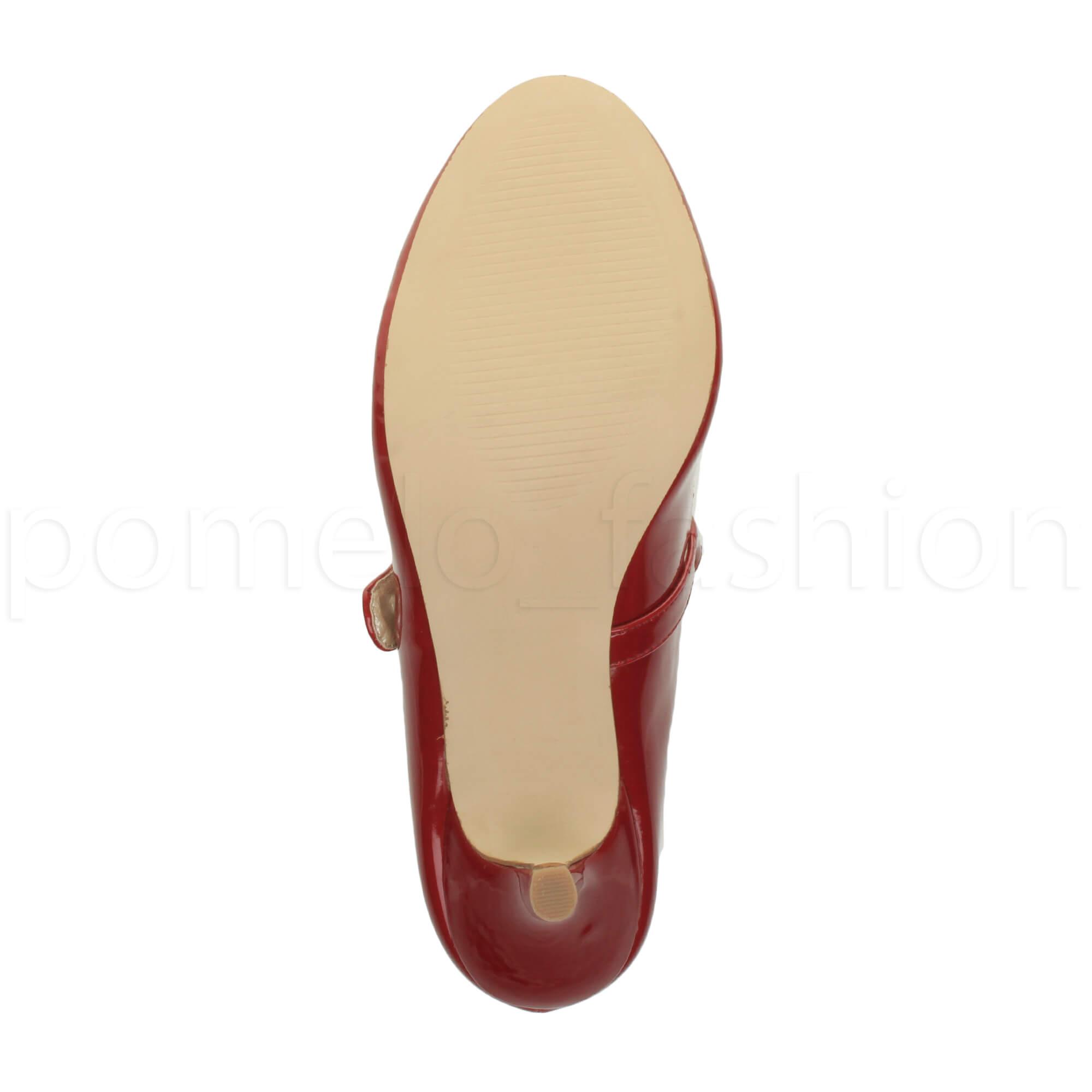 miniatura 50 - Donna basso tacco medio Mary Jane Damigella Matrimonio Pompe Scarpe Da Sera Taglia
