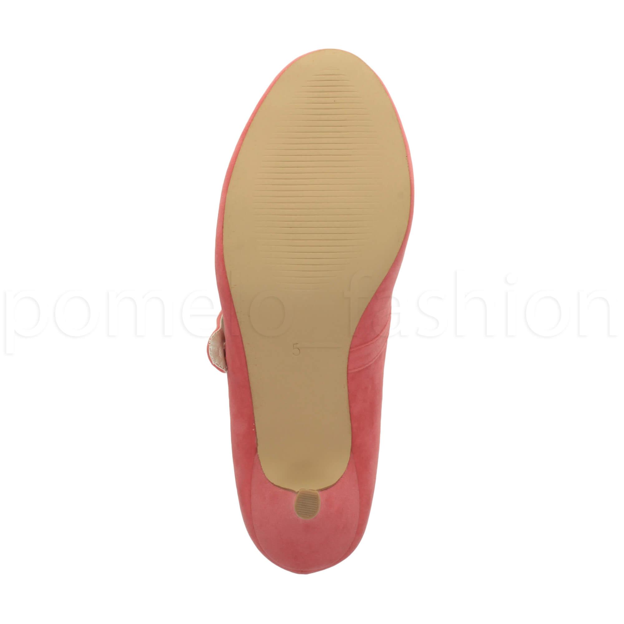 miniatura 57 - Donna basso tacco medio Mary Jane Damigella Matrimonio Pompe Scarpe Da Sera Taglia