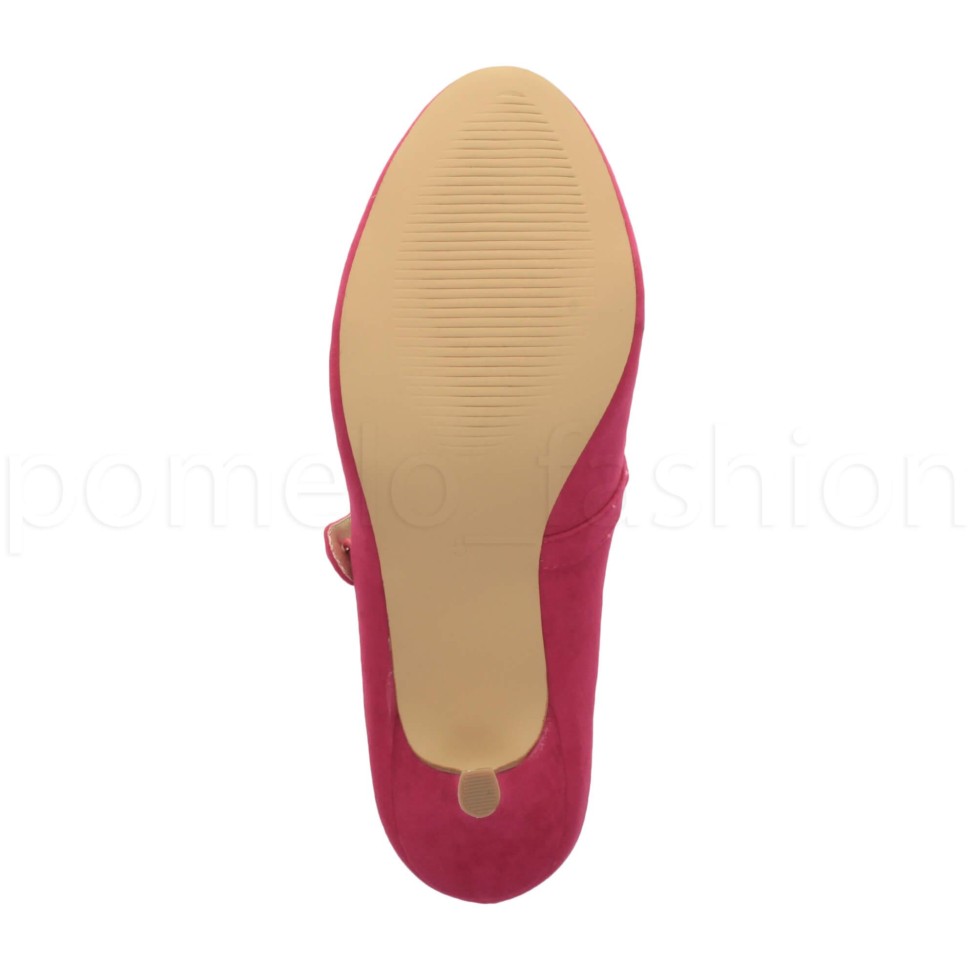 miniatura 64 - Donna basso tacco medio Mary Jane Damigella Matrimonio Pompe Scarpe Da Sera Taglia