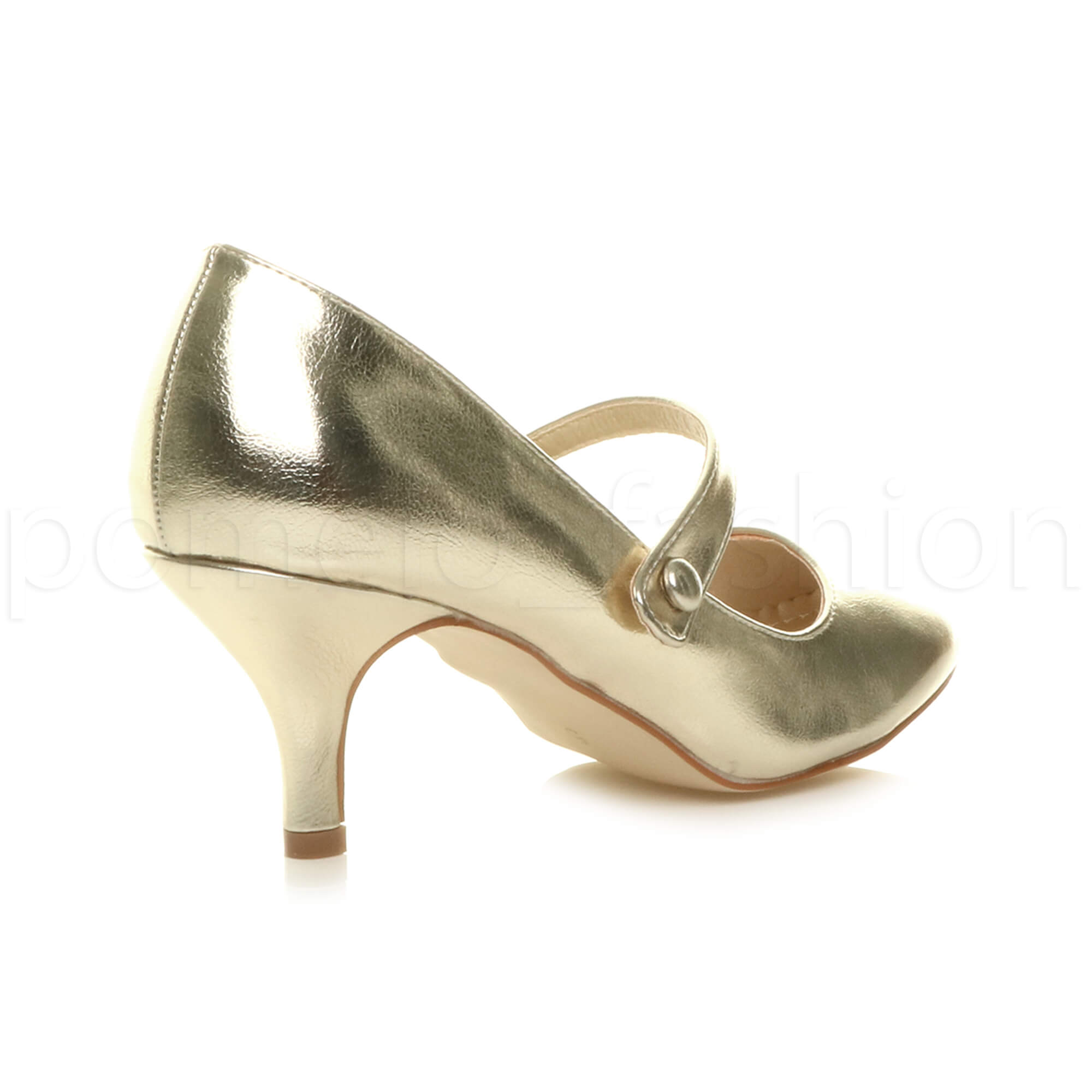 miniatura 68 - Donna basso tacco medio Mary Jane Damigella Matrimonio Pompe Scarpe Da Sera Taglia