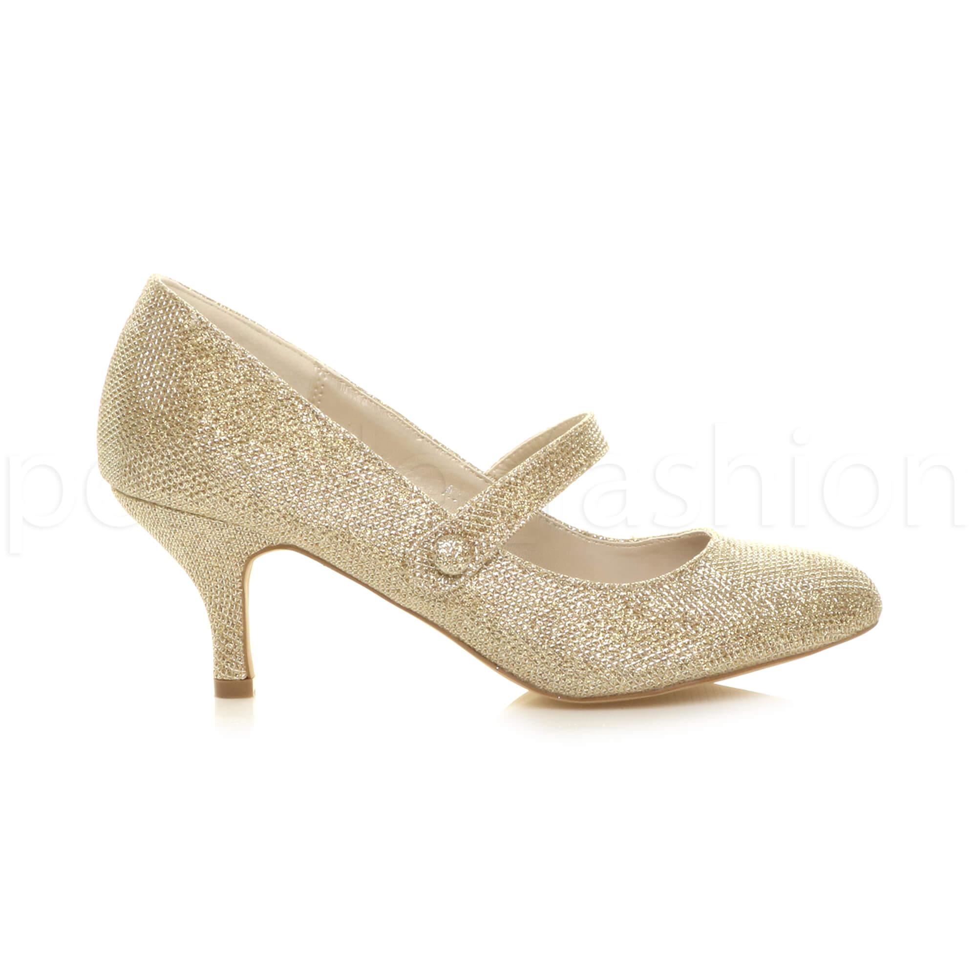 miniatura 73 - Donna basso tacco medio Mary Jane Damigella Matrimonio Pompe Scarpe Da Sera Taglia