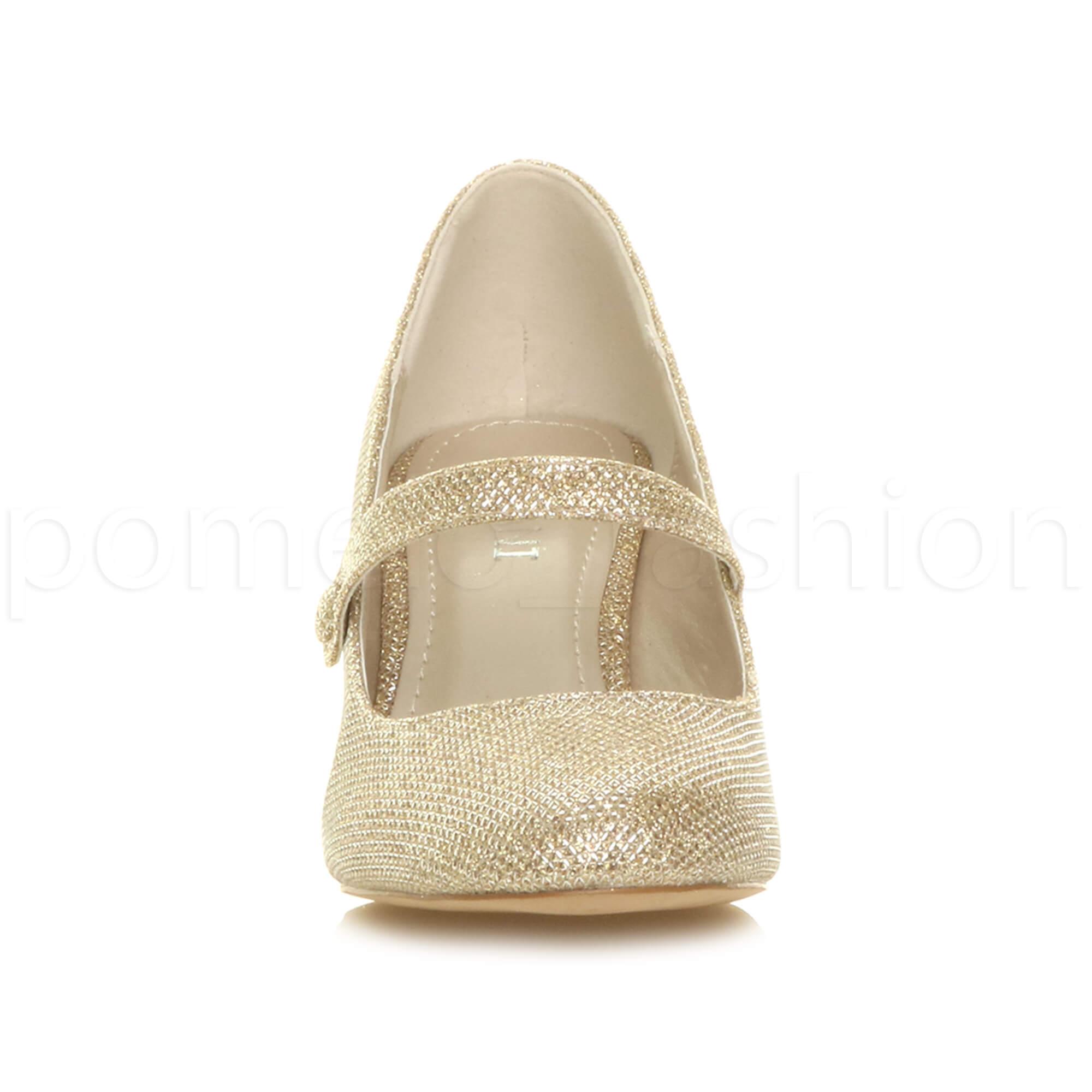 miniatura 76 - Donna basso tacco medio Mary Jane Damigella Matrimonio Pompe Scarpe Da Sera Taglia