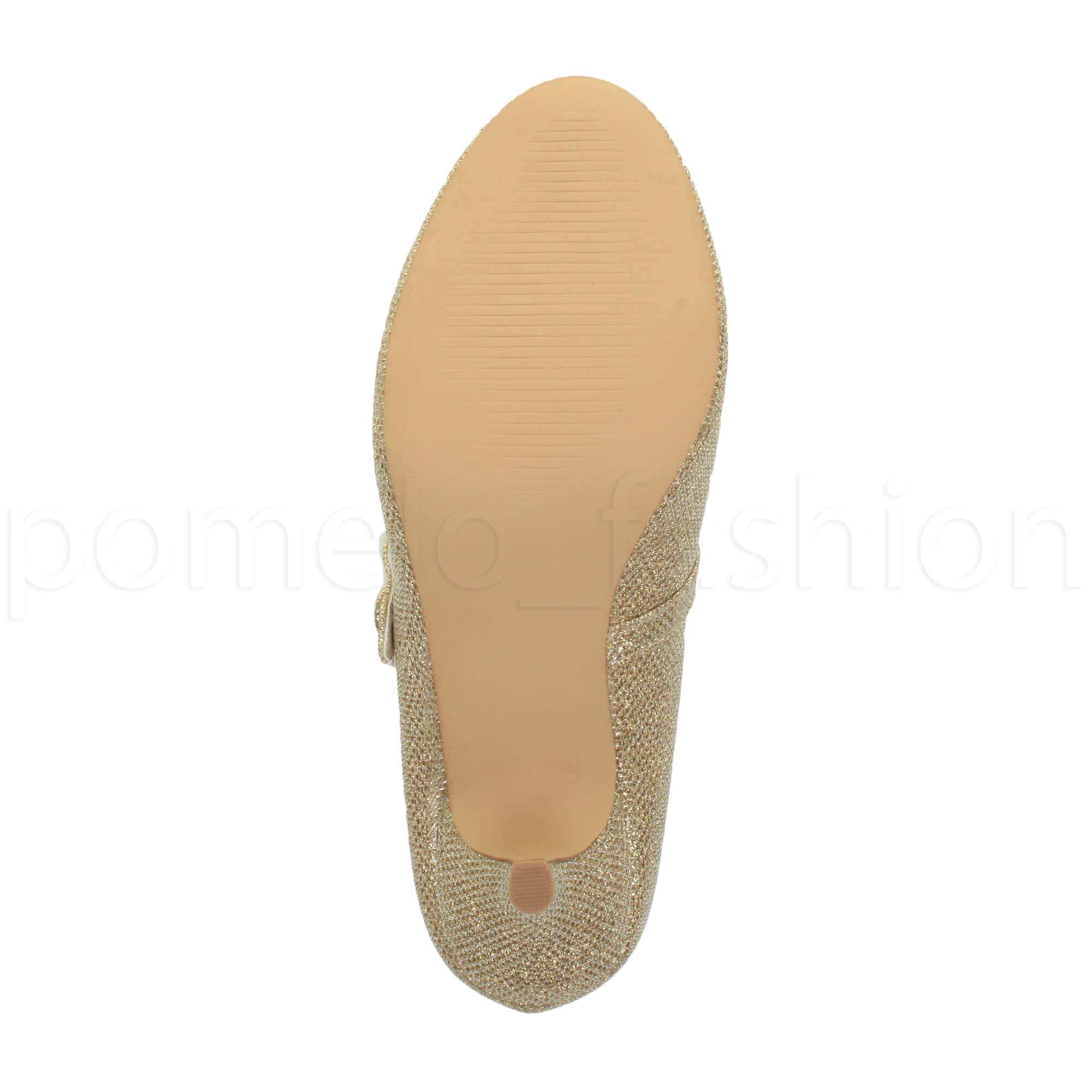 miniatura 78 - Donna basso tacco medio Mary Jane Damigella Matrimonio Pompe Scarpe Da Sera Taglia