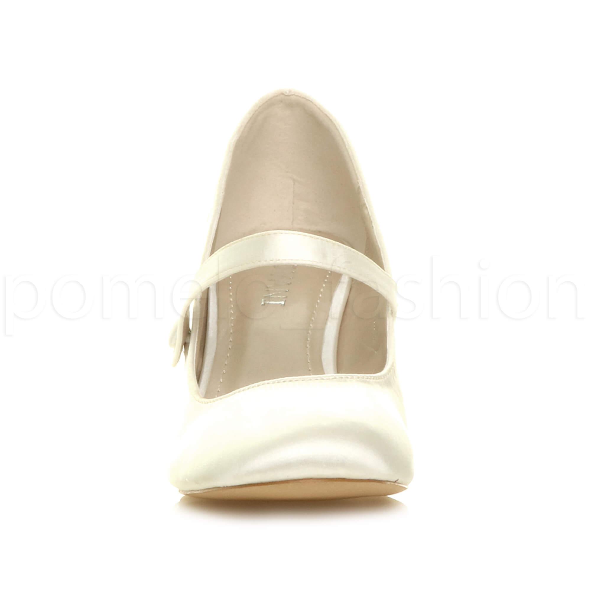 miniatura 83 - Donna basso tacco medio Mary Jane Damigella Matrimonio Pompe Scarpe Da Sera Taglia