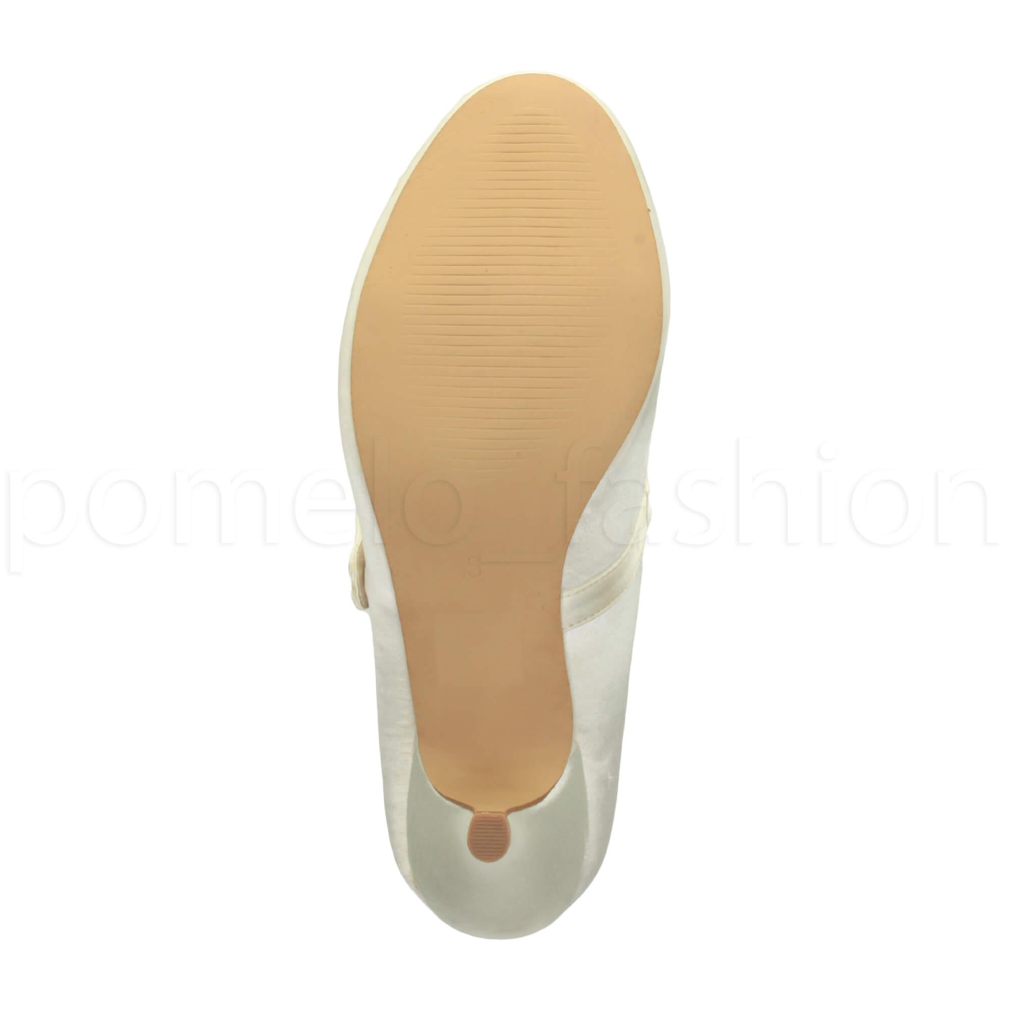 miniatura 85 - Donna basso tacco medio Mary Jane Damigella Matrimonio Pompe Scarpe Da Sera Taglia