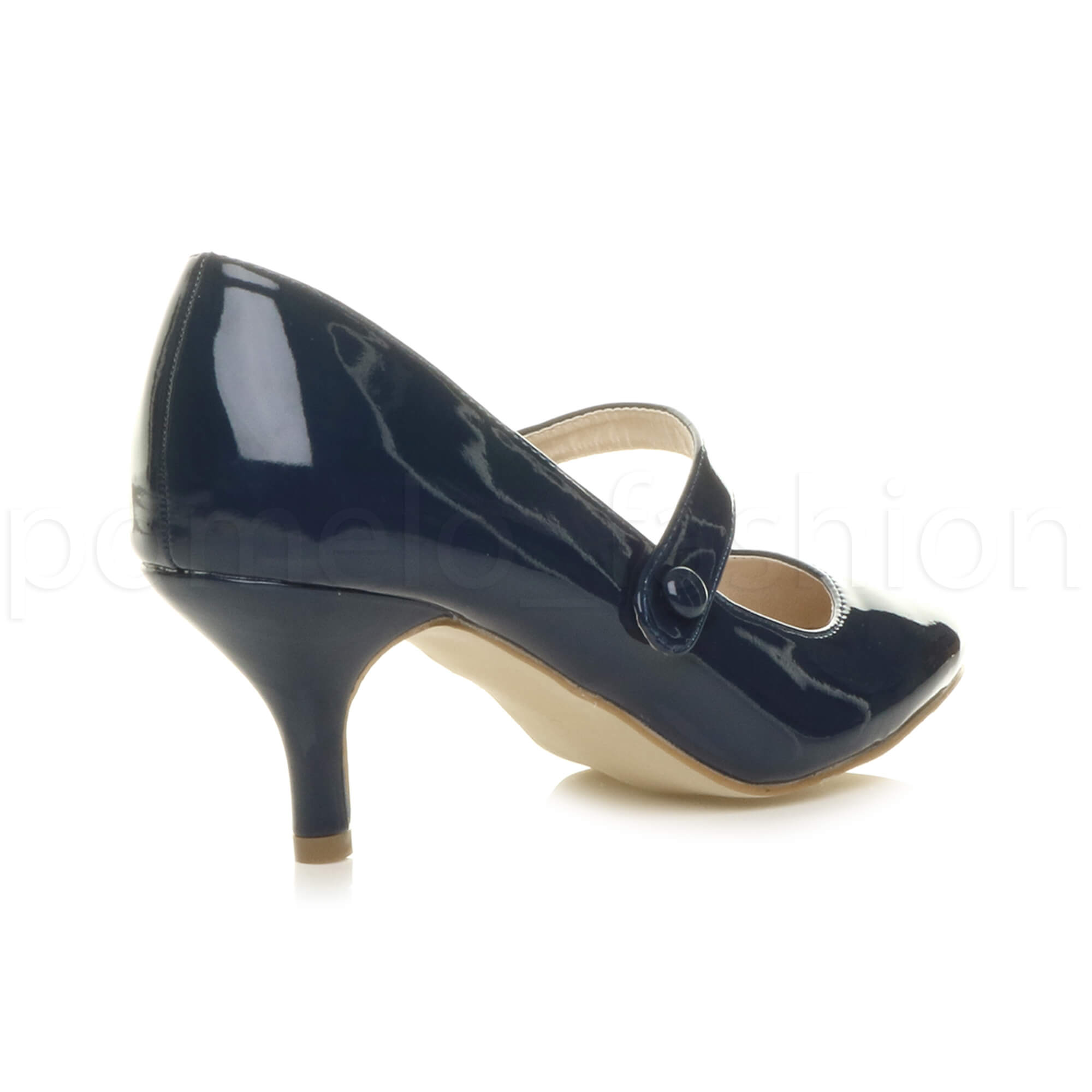 miniatura 103 - Donna basso tacco medio Mary Jane Damigella Matrimonio Pompe Scarpe Da Sera Taglia