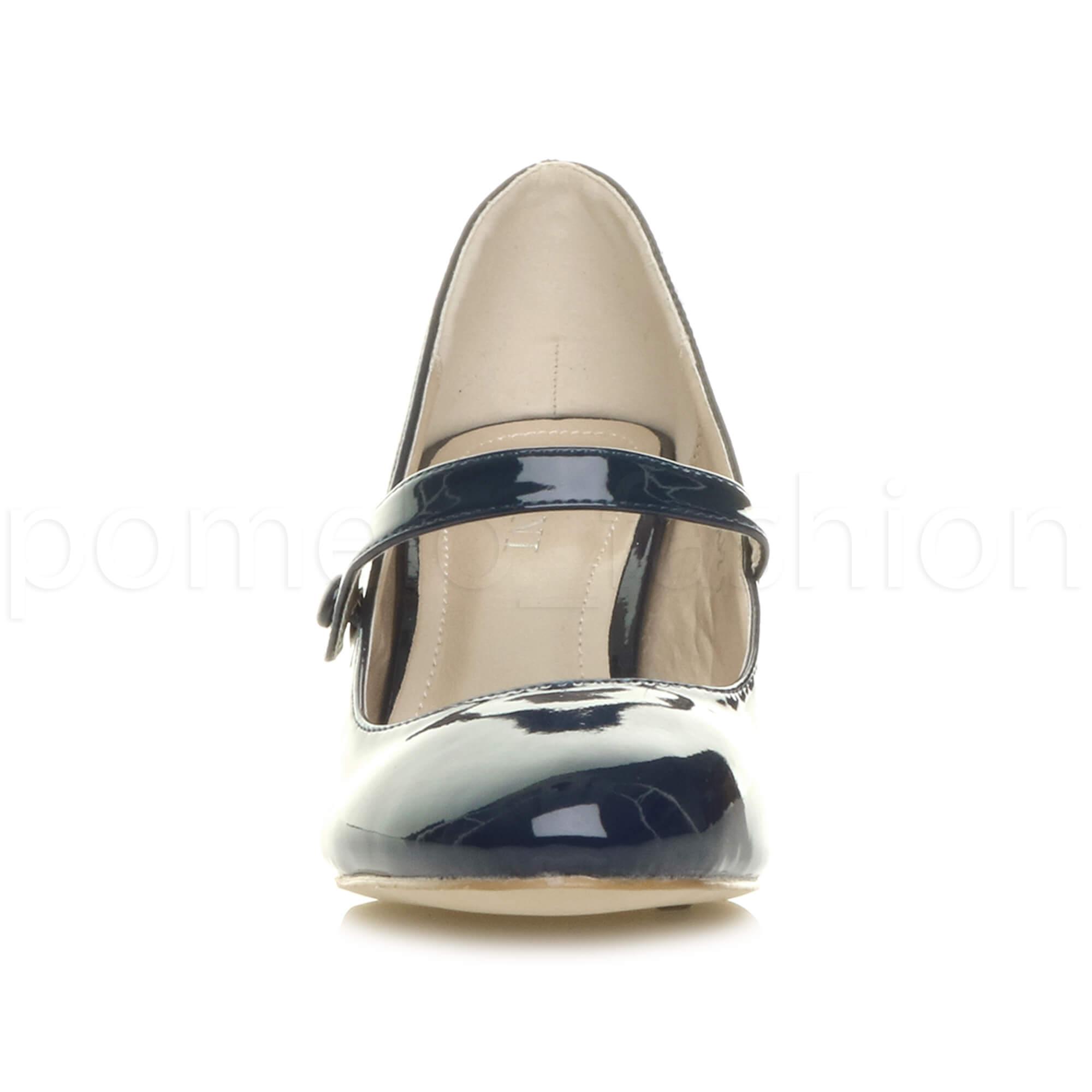 miniatura 104 - Donna basso tacco medio Mary Jane Damigella Matrimonio Pompe Scarpe Da Sera Taglia