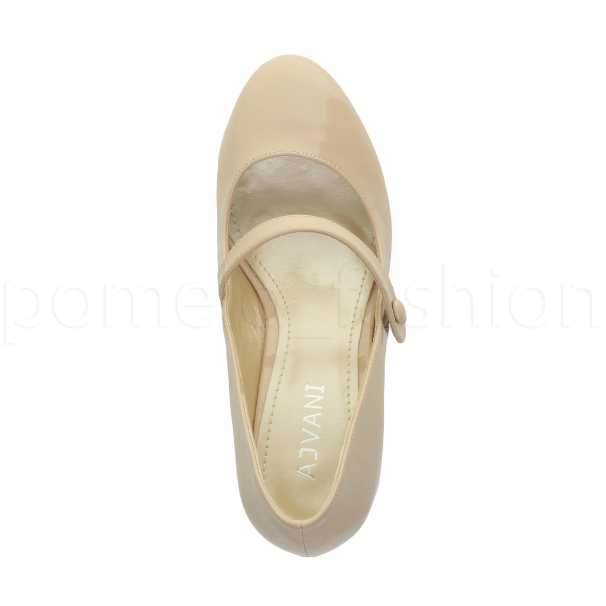 miniatura 119 - Donna basso tacco medio Mary Jane Damigella Matrimonio Pompe Scarpe Da Sera Taglia