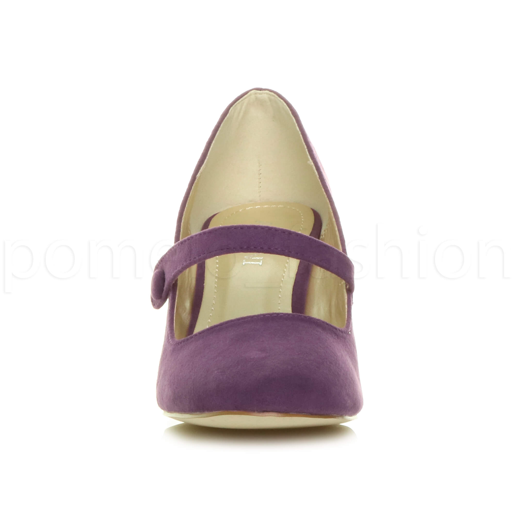 miniatura 132 - Donna basso tacco medio Mary Jane Damigella Matrimonio Pompe Scarpe Da Sera Taglia