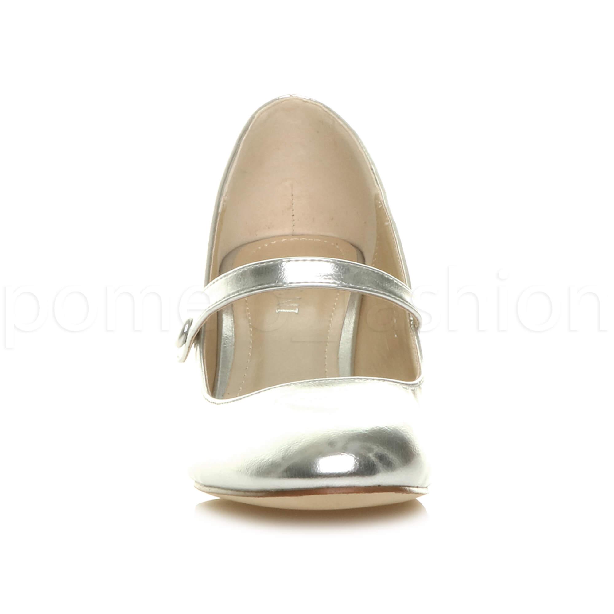 miniatura 153 - Donna basso tacco medio Mary Jane Damigella Matrimonio Pompe Scarpe Da Sera Taglia