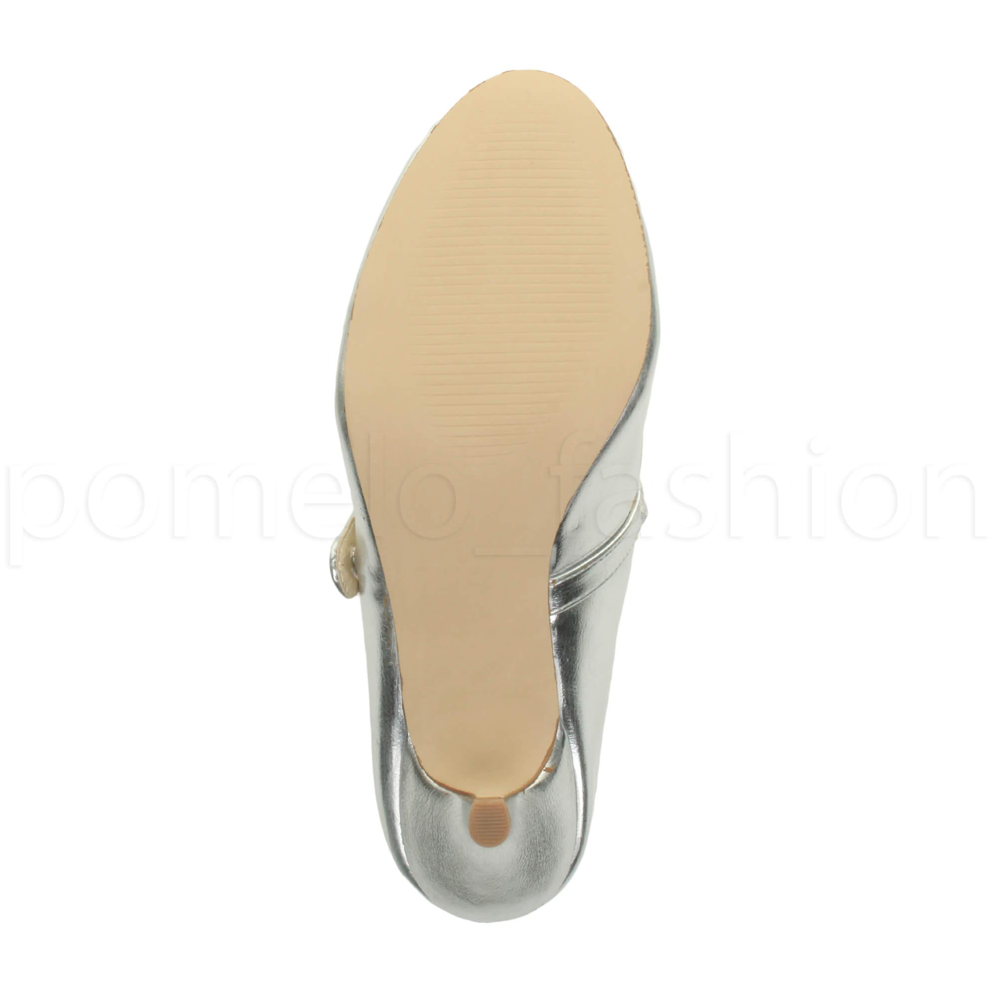 miniatura 155 - Donna basso tacco medio Mary Jane Damigella Matrimonio Pompe Scarpe Da Sera Taglia