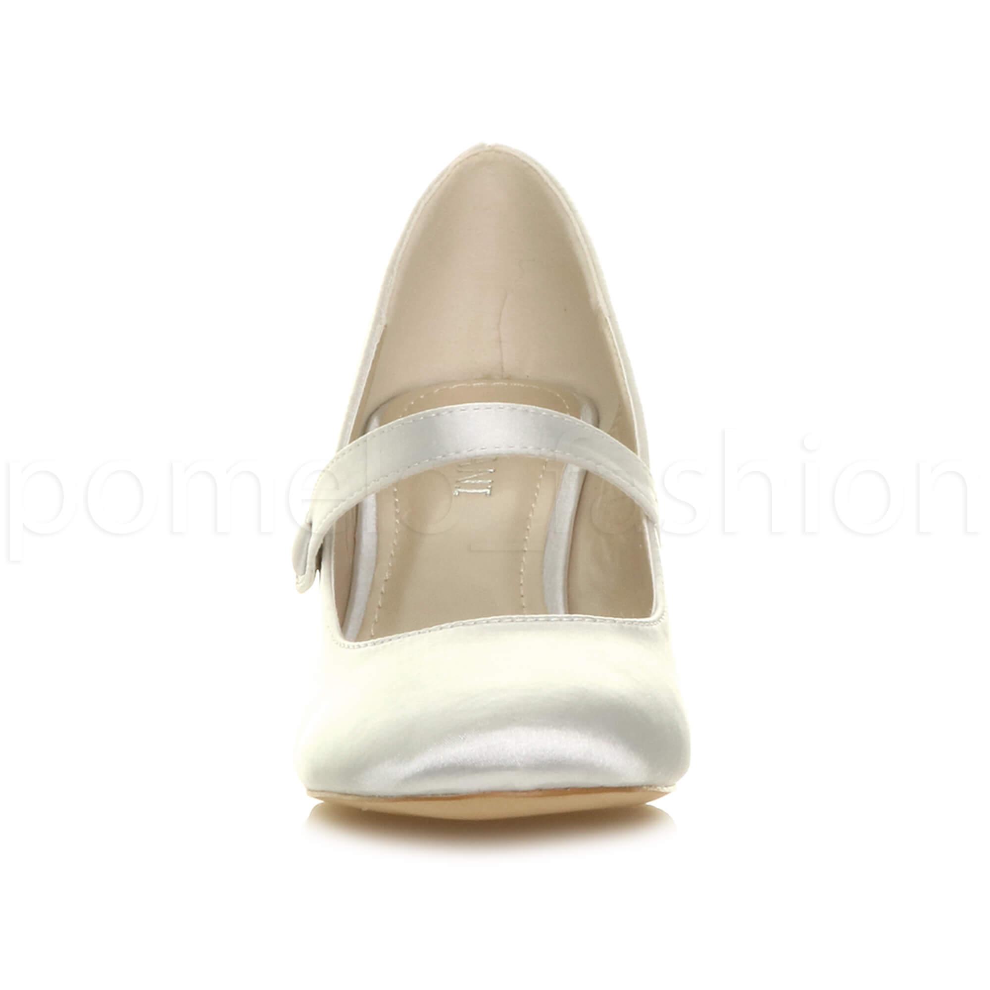 miniatura 160 - Donna basso tacco medio Mary Jane Damigella Matrimonio Pompe Scarpe Da Sera Taglia