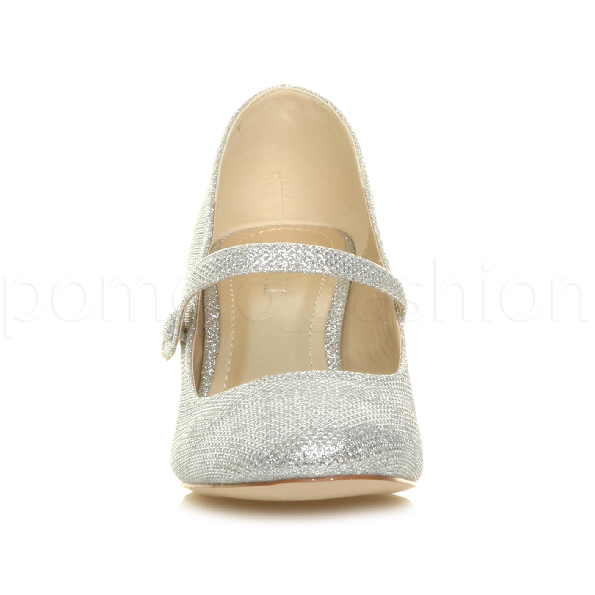 miniatura 167 - Donna basso tacco medio Mary Jane Damigella Matrimonio Pompe Scarpe Da Sera Taglia