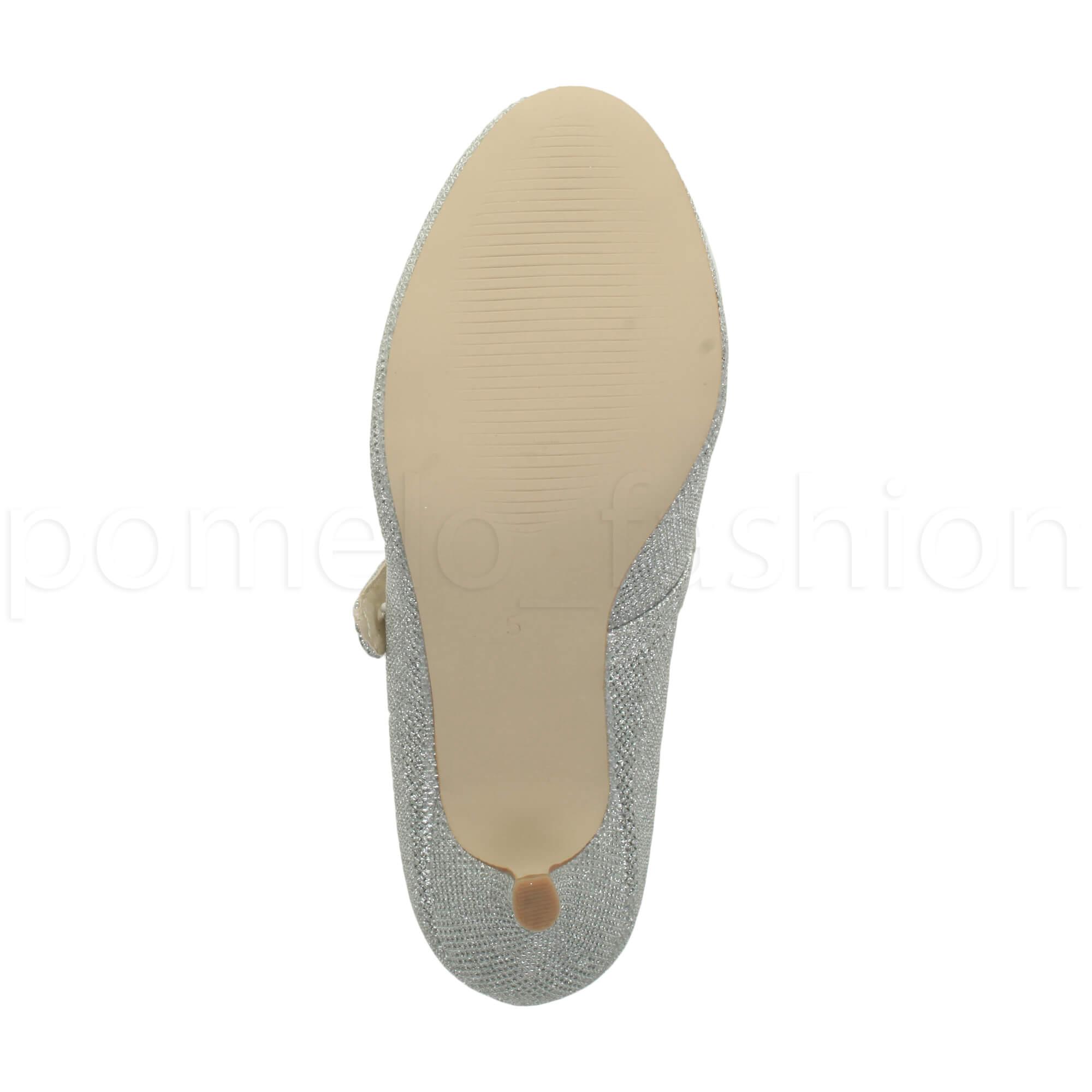 miniatura 169 - Donna basso tacco medio Mary Jane Damigella Matrimonio Pompe Scarpe Da Sera Taglia