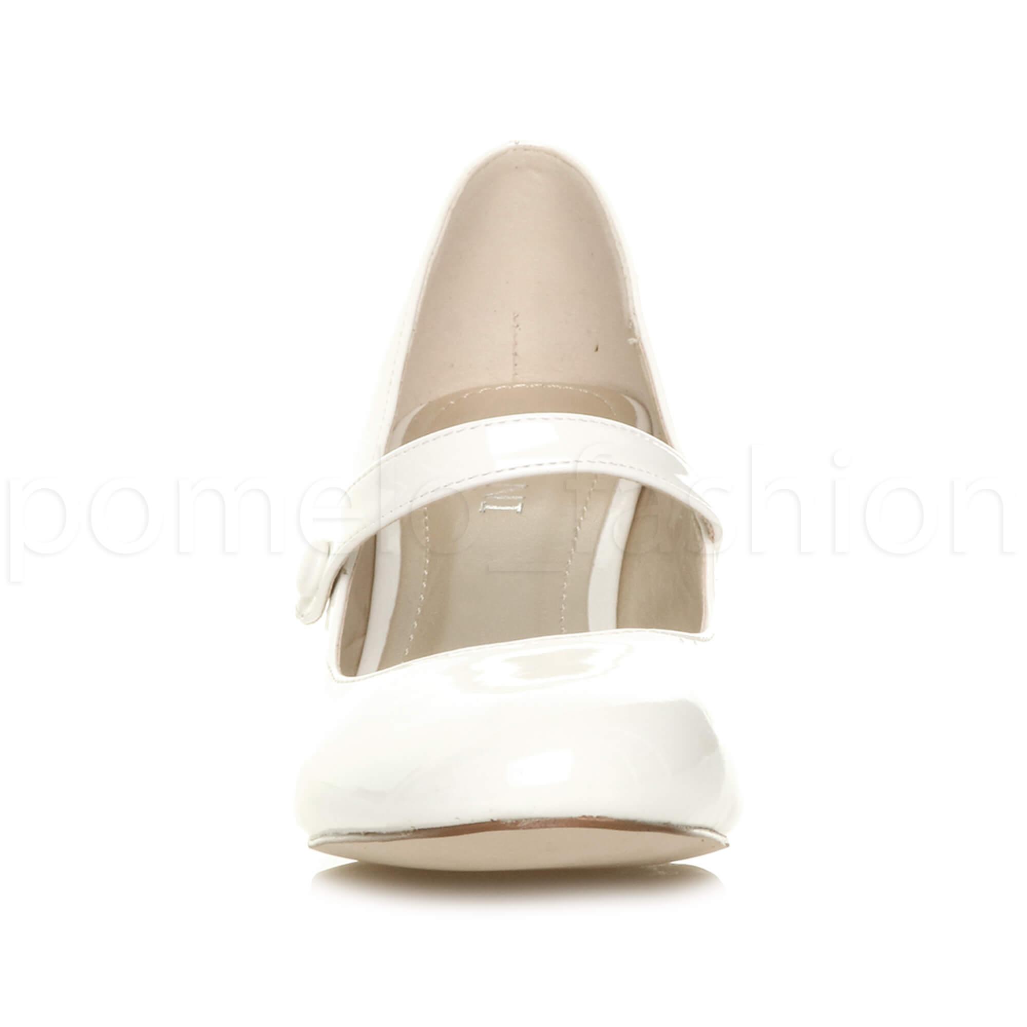 miniatura 181 - Donna basso tacco medio Mary Jane Damigella Matrimonio Pompe Scarpe Da Sera Taglia