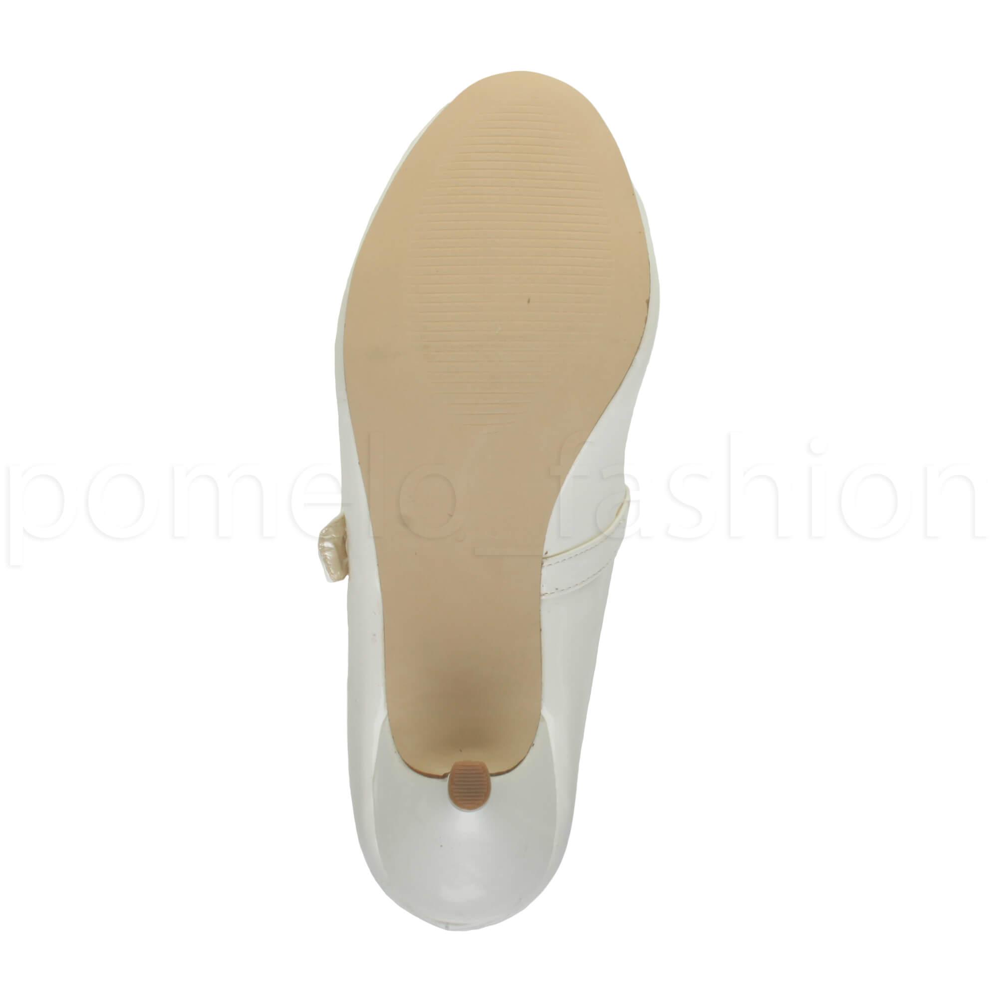 miniatura 183 - Donna basso tacco medio Mary Jane Damigella Matrimonio Pompe Scarpe Da Sera Taglia