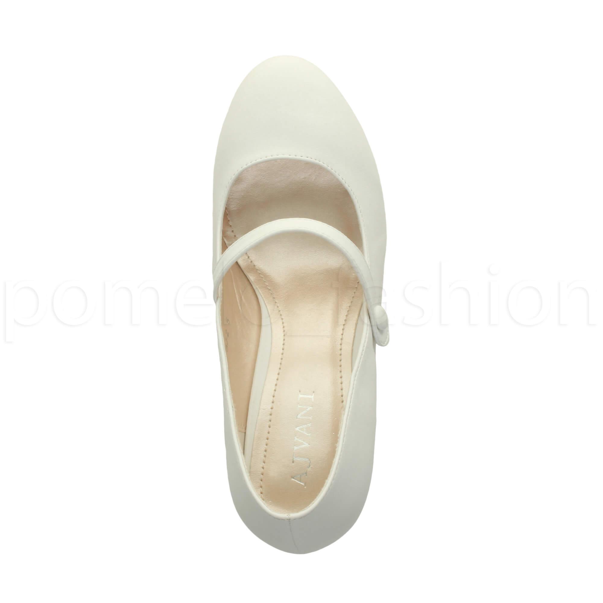 miniatura 175 - Donna basso tacco medio Mary Jane Damigella Matrimonio Pompe Scarpe Da Sera Taglia