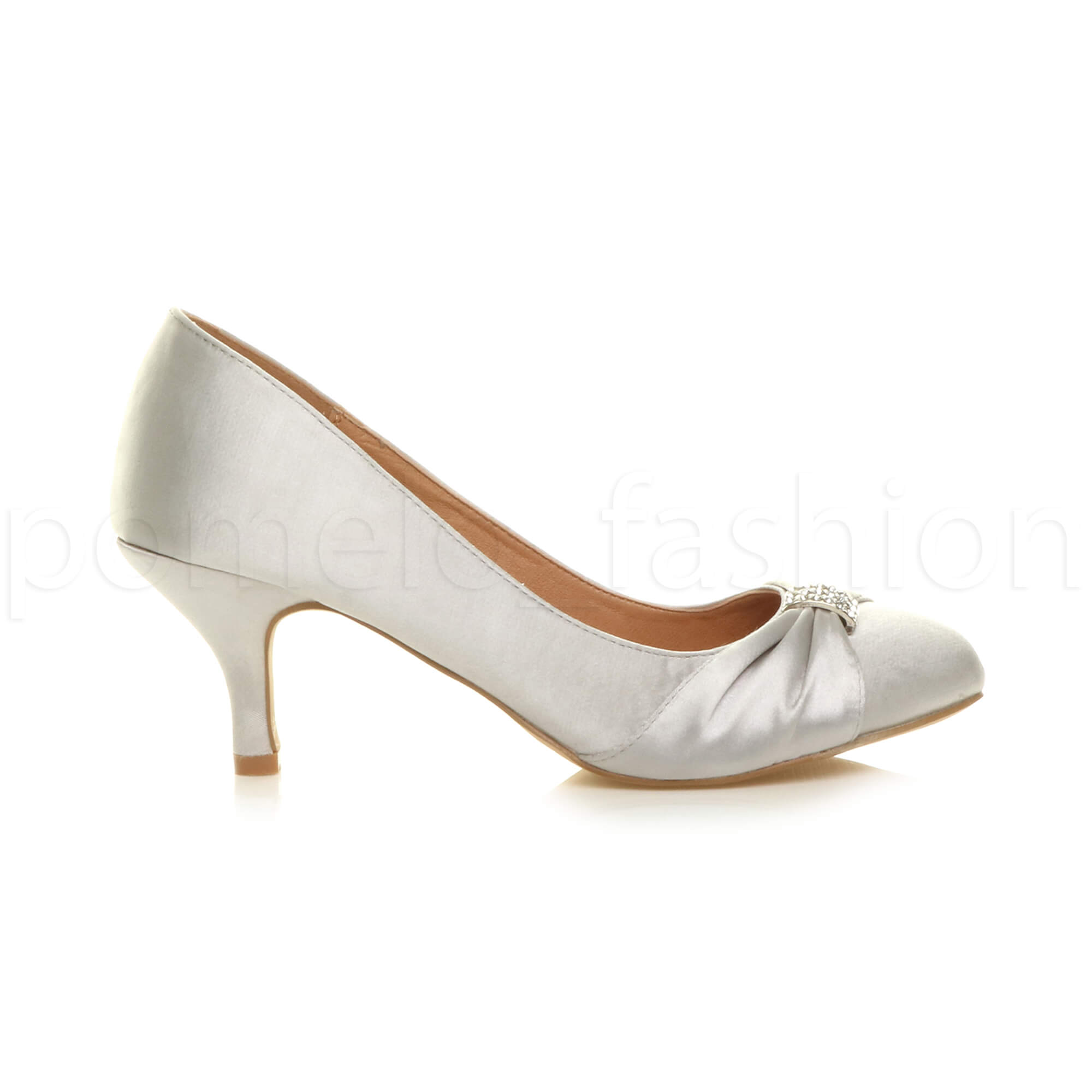 0d25d9657b5 Womens Ladies Low Mid Heel Diamante Party Smart Evening Court Shoes Size UK  5 / EU 38 / US 7 Silver Satin Beach