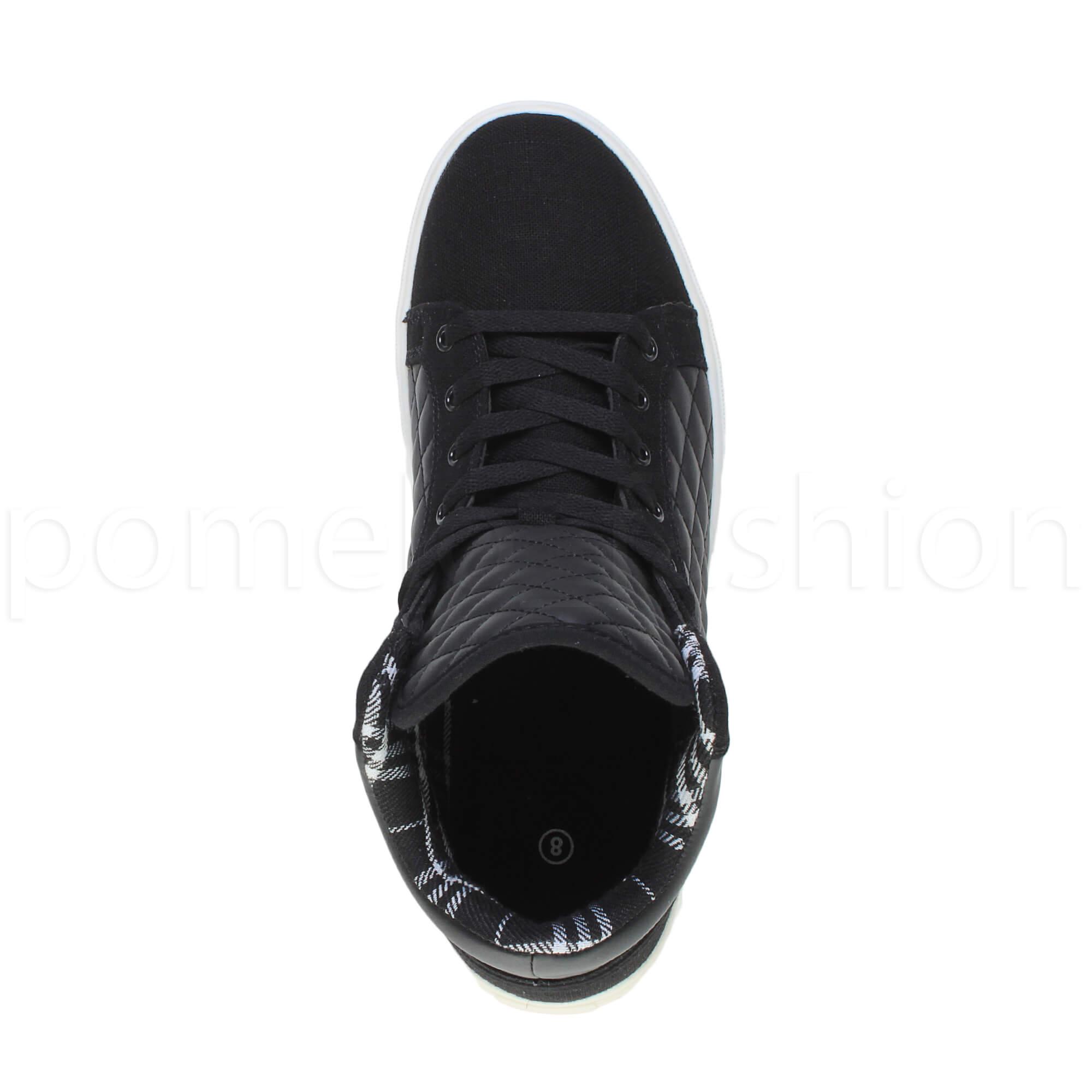 Homme Matelassé plates lacets hi high top bottes formateur Taille Cheville Baskets Taille formateur 02439b