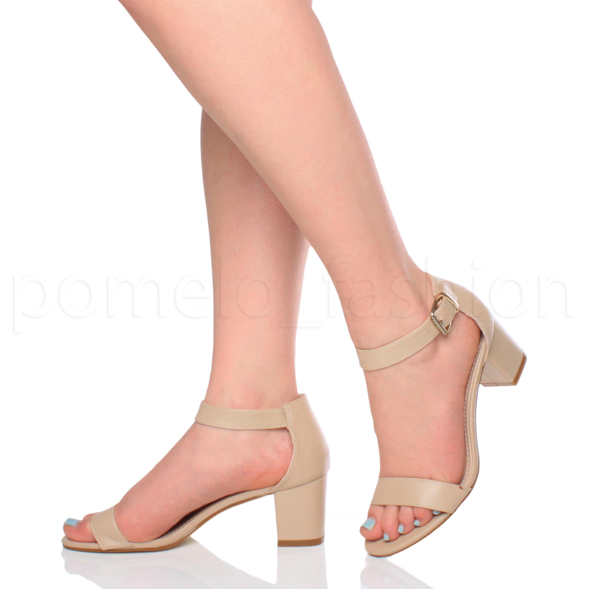 Womens La s Low Mid Heel Buckle Ankle Strap PEEP Toe Party