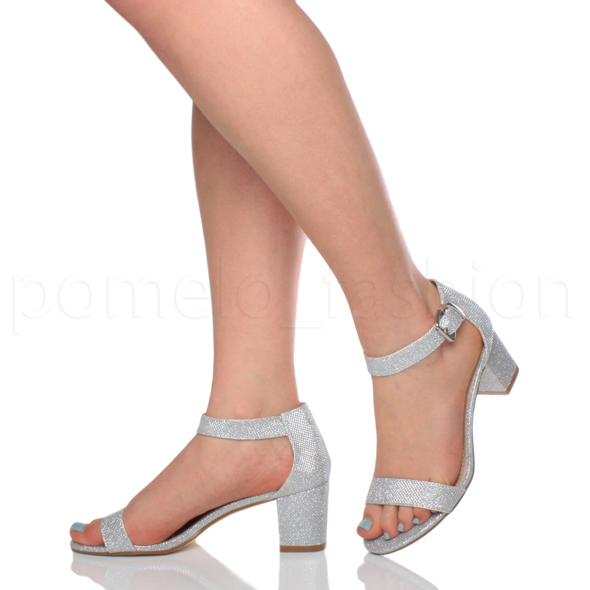 37c99ef9f085 WOMENS LADIES LOW MID BLOCK HEEL ANKLE STRAP PEEPTOE .